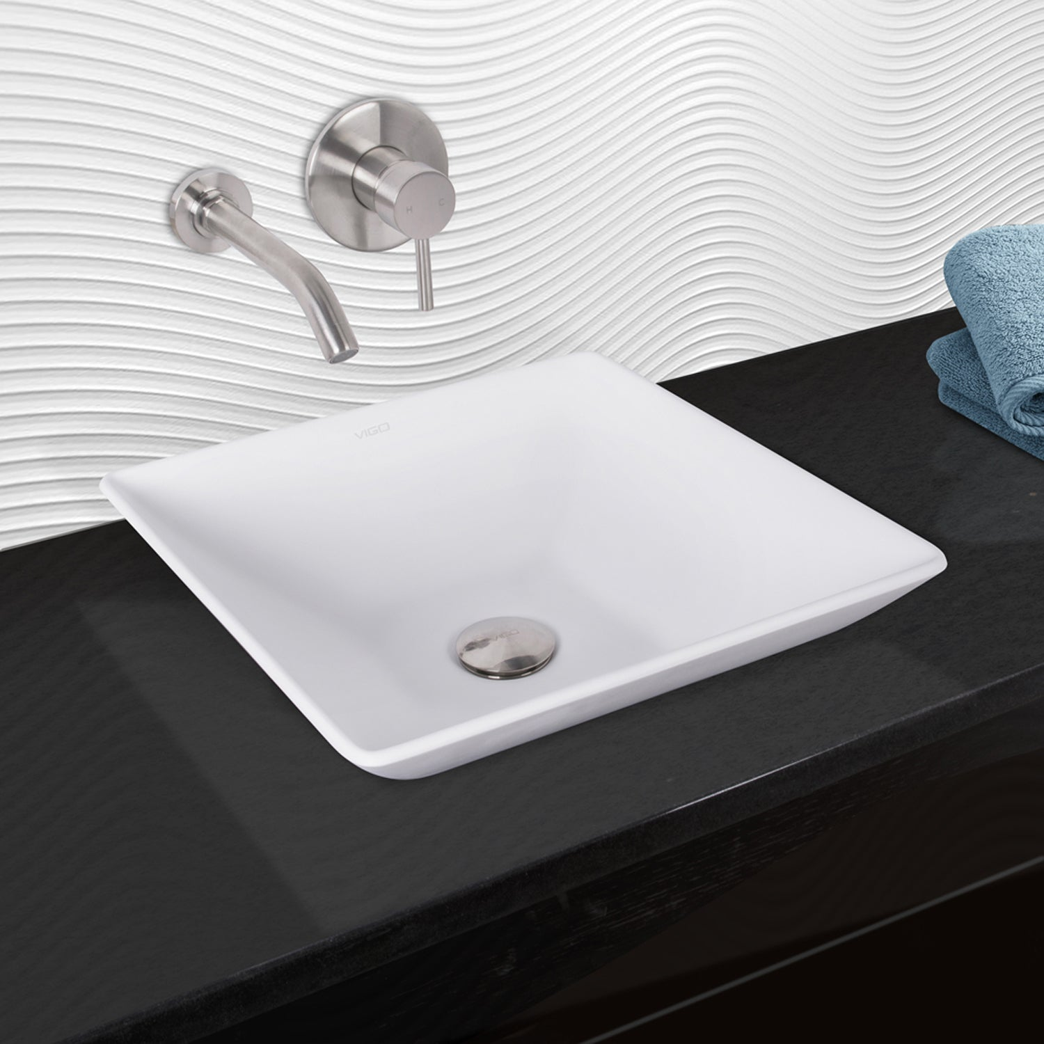 Shop VIGO Hibiscus Matte Stone Vessel Sink and Olus Brushed Nickel ...
