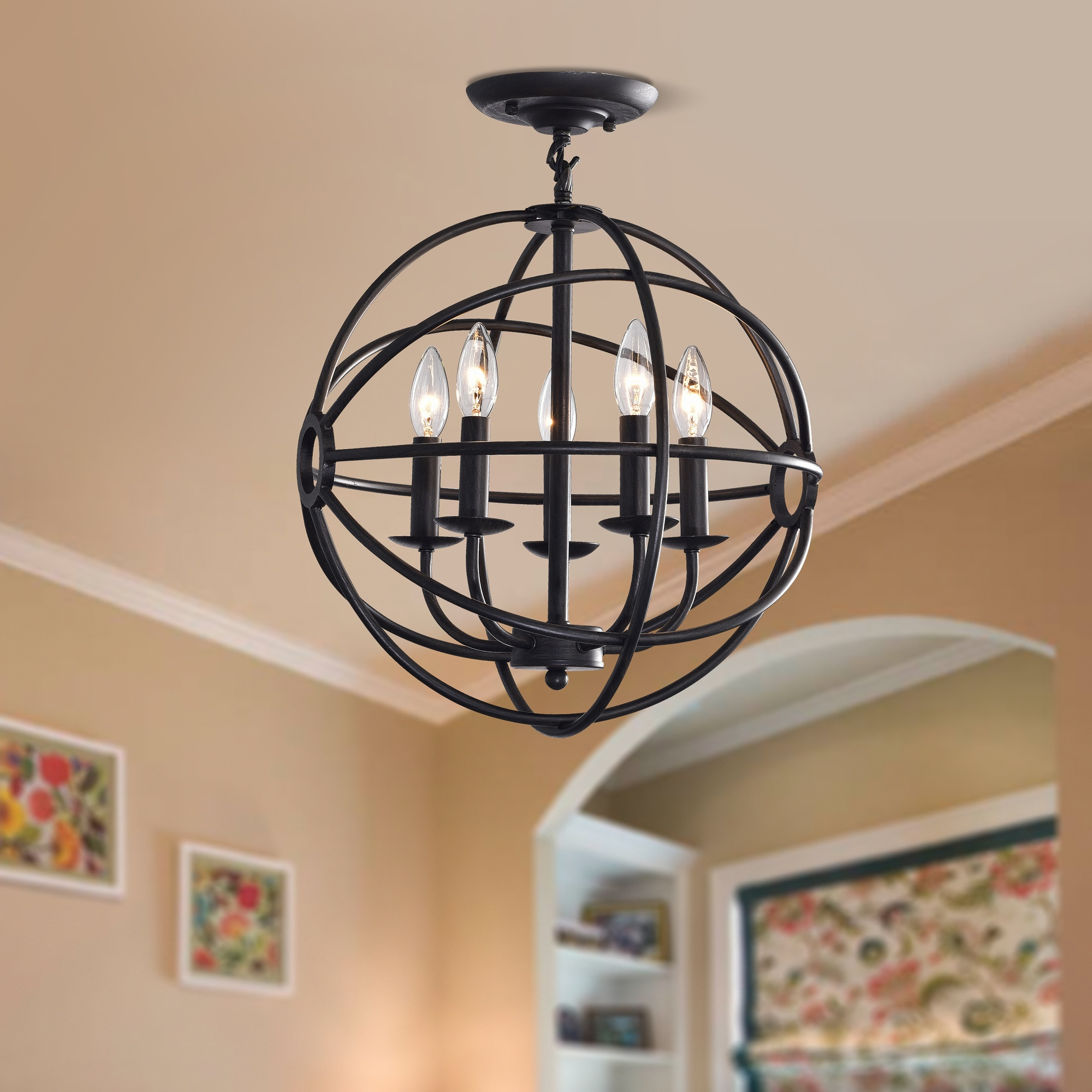 Carbon Loft Bidwell Antique Black 5 light Iron Orb Flush Mount
