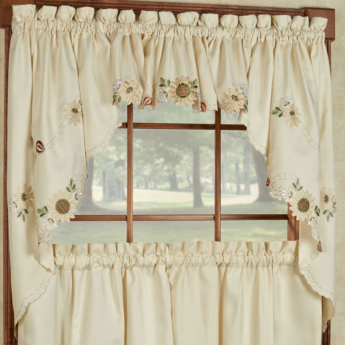 Embroidered Sunflower Kitchen Curtains Separates  Tier, Swag And Valance  Options   Free Shipping On Orders Over $45   Overstock.com   17323401
