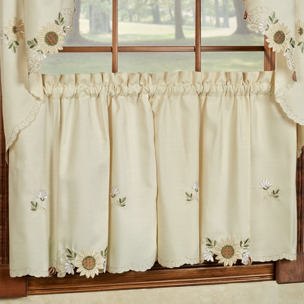 Shop Embroidered Sunflower Kitchen Curtains Separates  Tier, Swag And  Valance Options   Free Shipping On Orders Over $45   Overstock.com    10199186