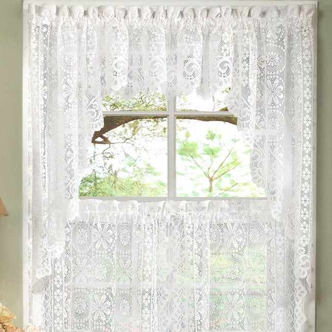 White Lace Luxurious Old World Style Kitchen Curtains Tiers, Shade, And  Valances   Free Shipping On Orders Over $45   Overstock   17323407