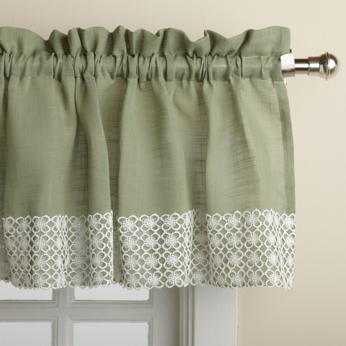 Well known Sage Country Style White Daisy Lace Accent Curtain Parts - Free  QR01