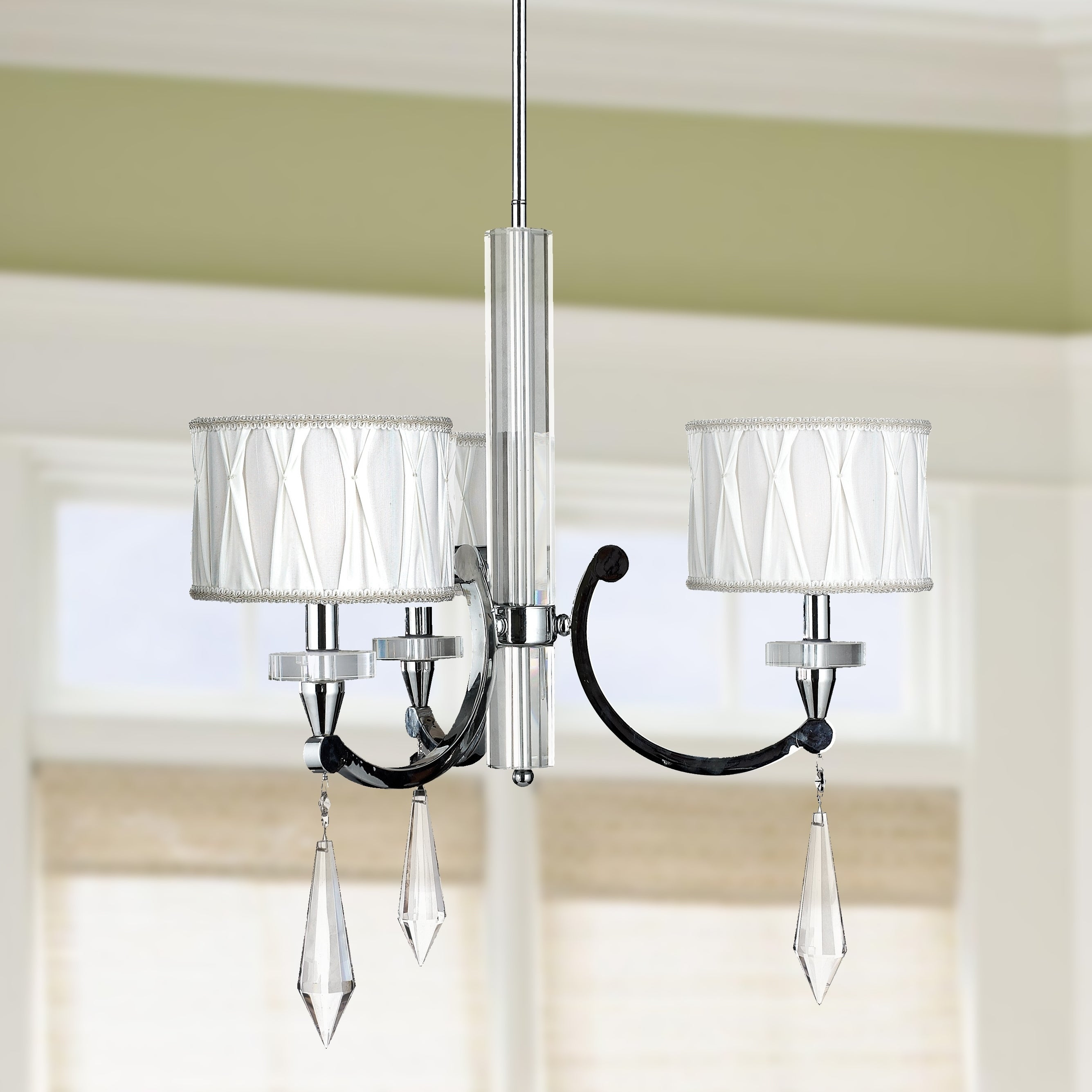 Cutl 3 Light Arm Crystal Chandelier With White Fabric Drum Shade 25 X26