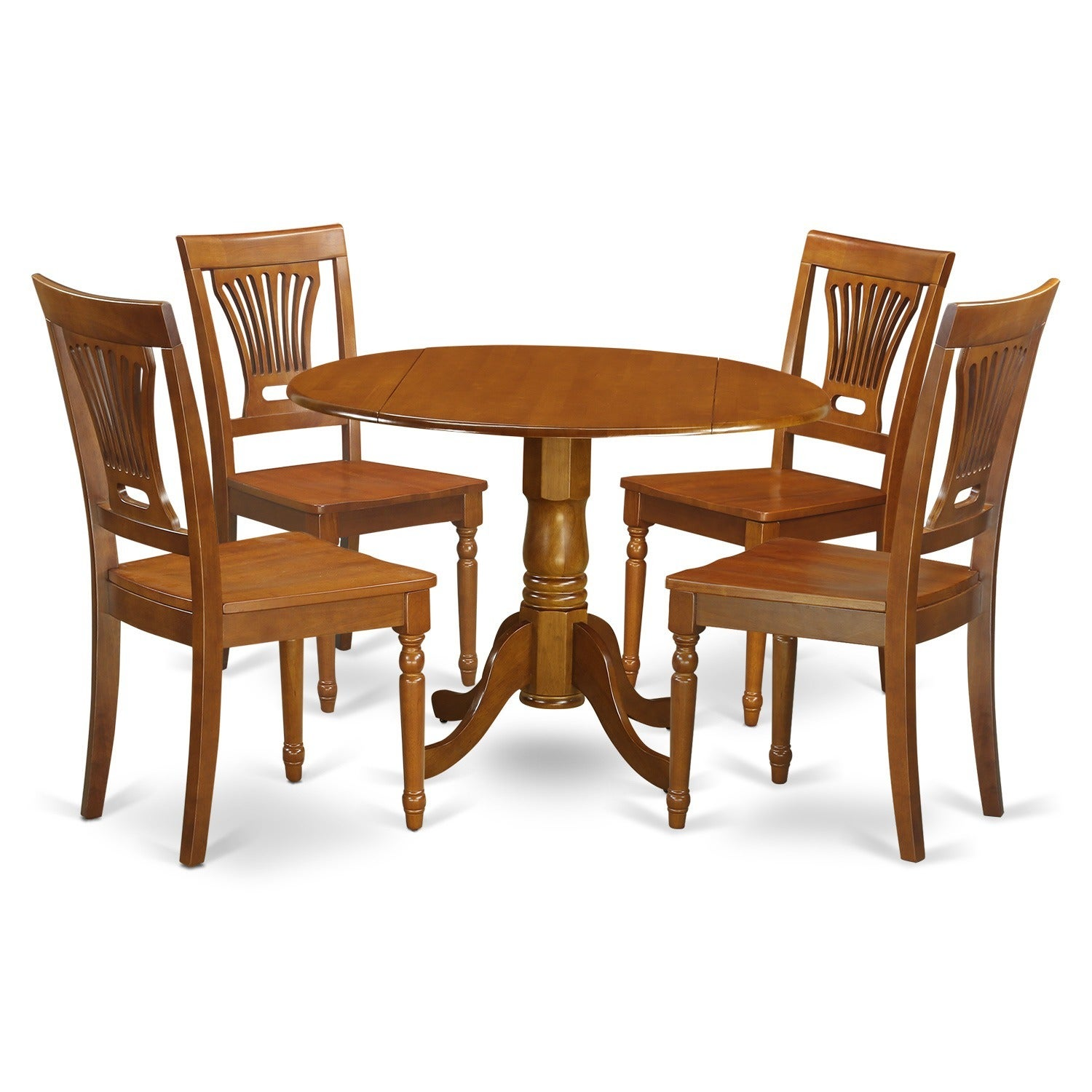 Shop Saddle Brown Round Table Plus 4 Dinette Chairs 5 Piece Dining Set    Free Shipping Today   Overstock.com   10201094