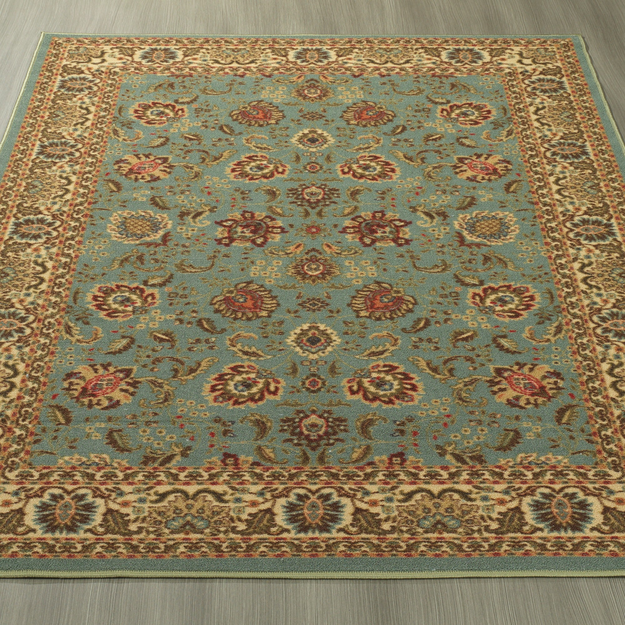 Ottomanson Ottohome Collection Persian Style Sage Green Aqua Blue Area Rug With Non Skid Rubber Backing 3 X 5 Free Shipping On Orders