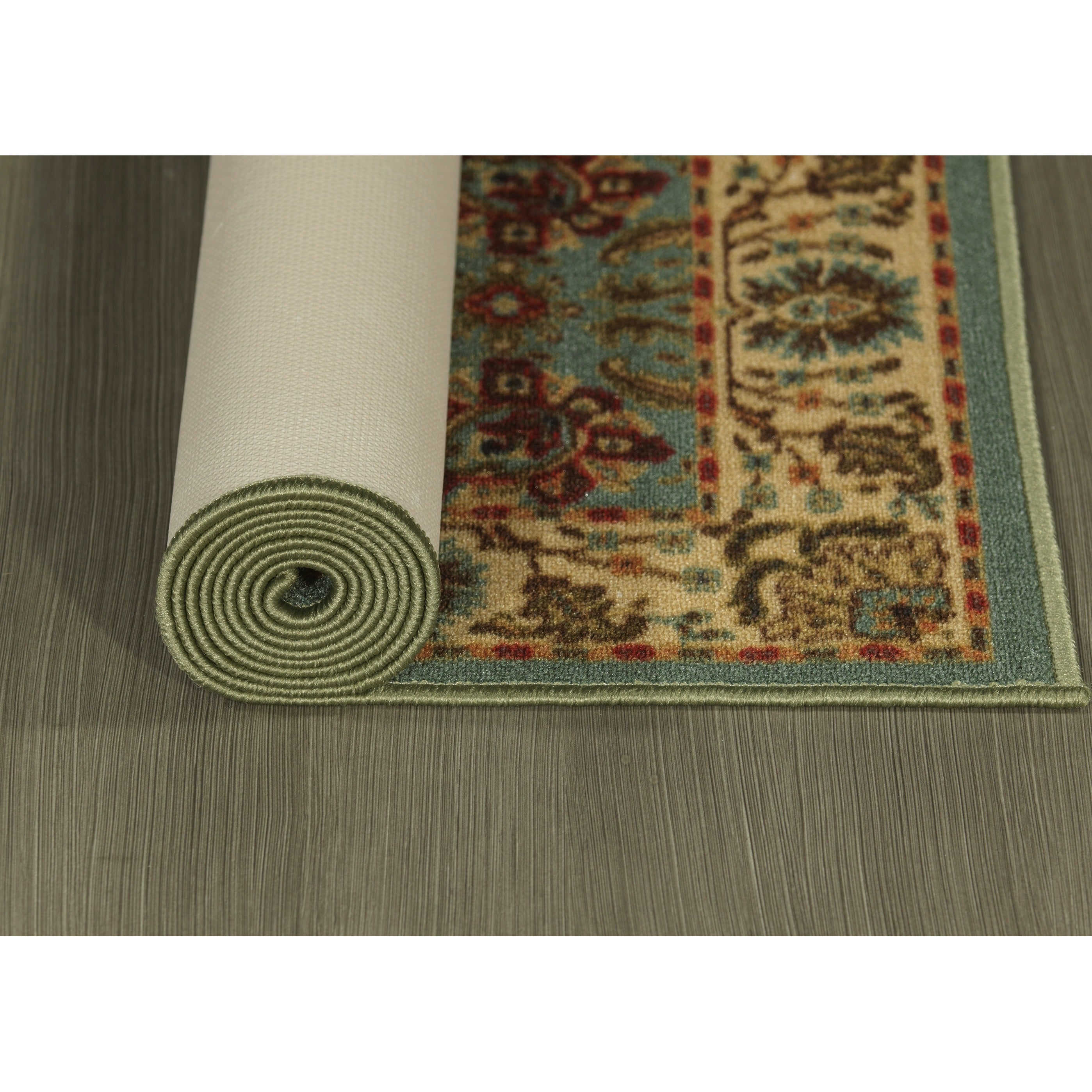 Ottomanson Ottohome Collection Persian Style Sage Green Aqua Blue Runner Rug With Non Skid Rubber Backing 2 X 7 Free Shipping On Orders Over 45