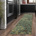 Ottomanson Otto Home Contemporary Leaves Design Modern Sage Green/ Aqua Blue Runner Rug with Non-skid Rubber Backing (2' x 7')
