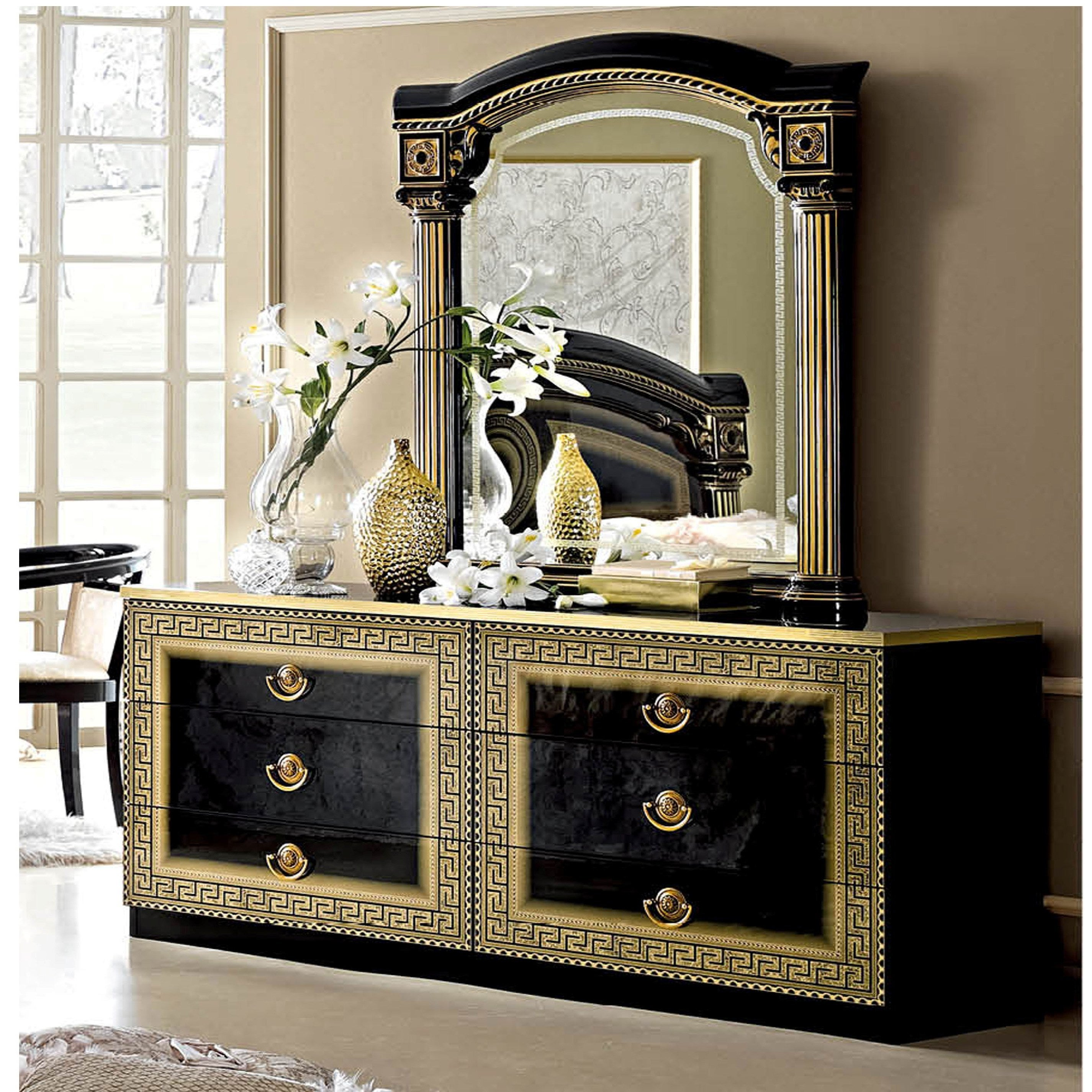 tiffany furniture mirrored dresser black mirror and adams products
