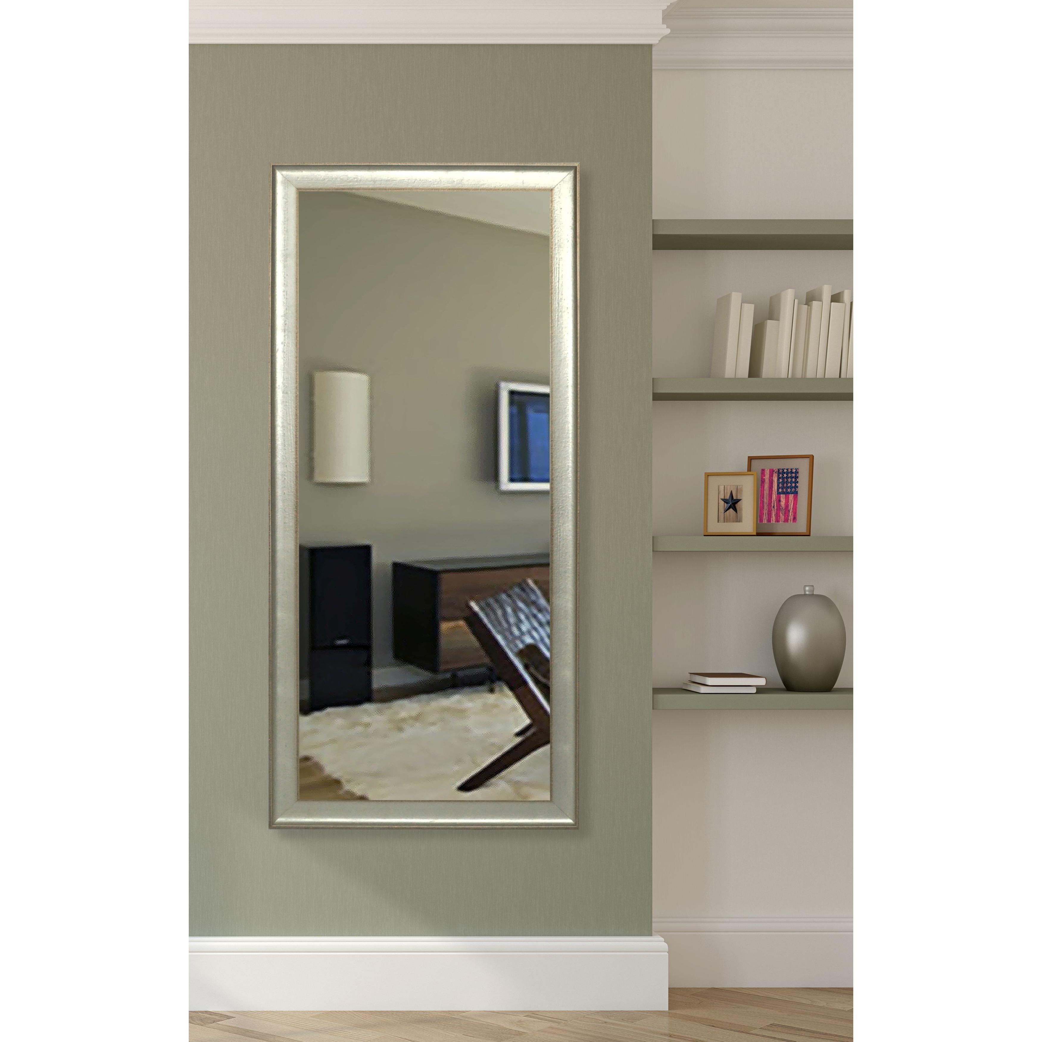 American Made Vintage Silver Floor Vanity Mirror Bronze