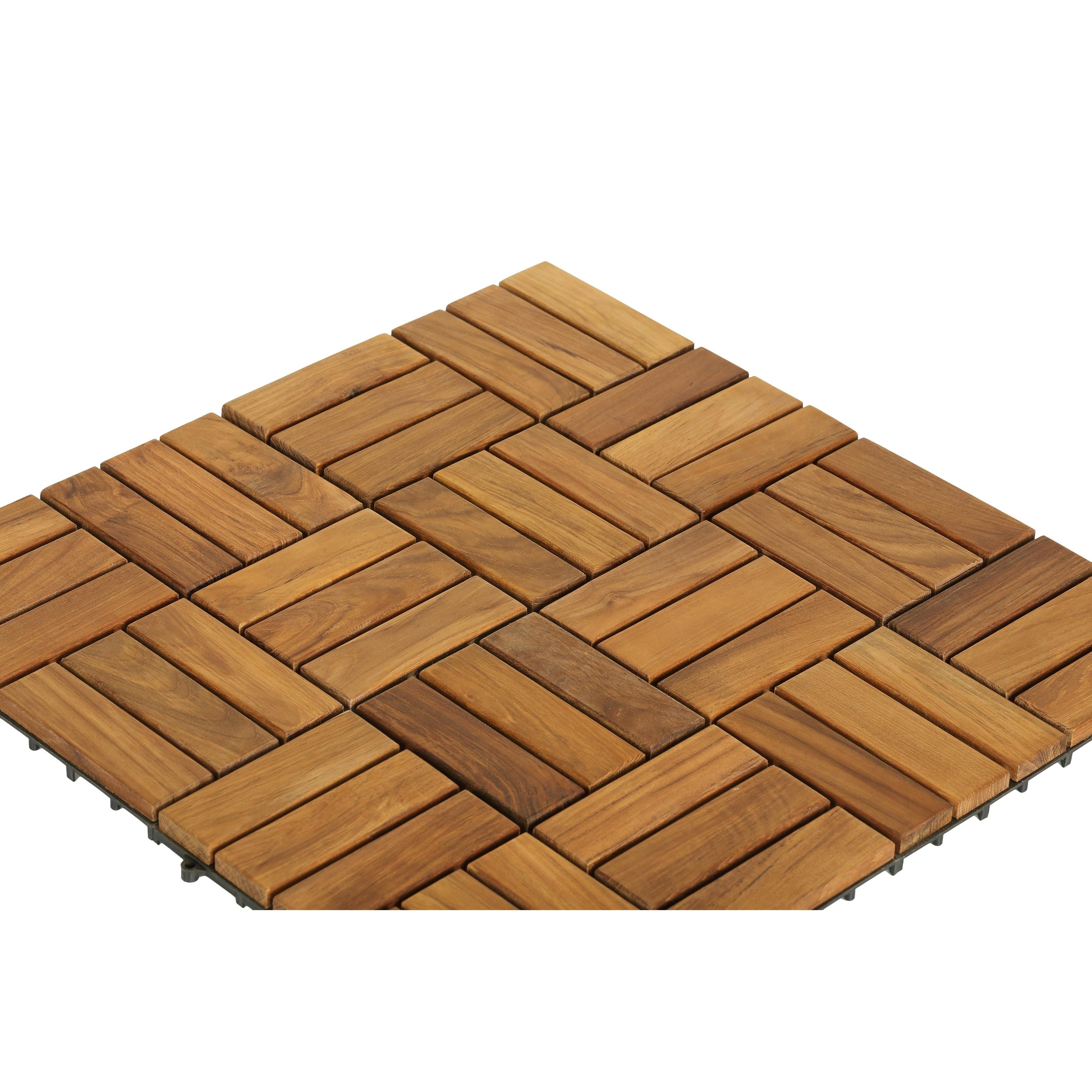 Shop Bare Decor EZFloor Solid Teak Wood Interlocking Flooring Tiles - Teak patio flooring 12x12