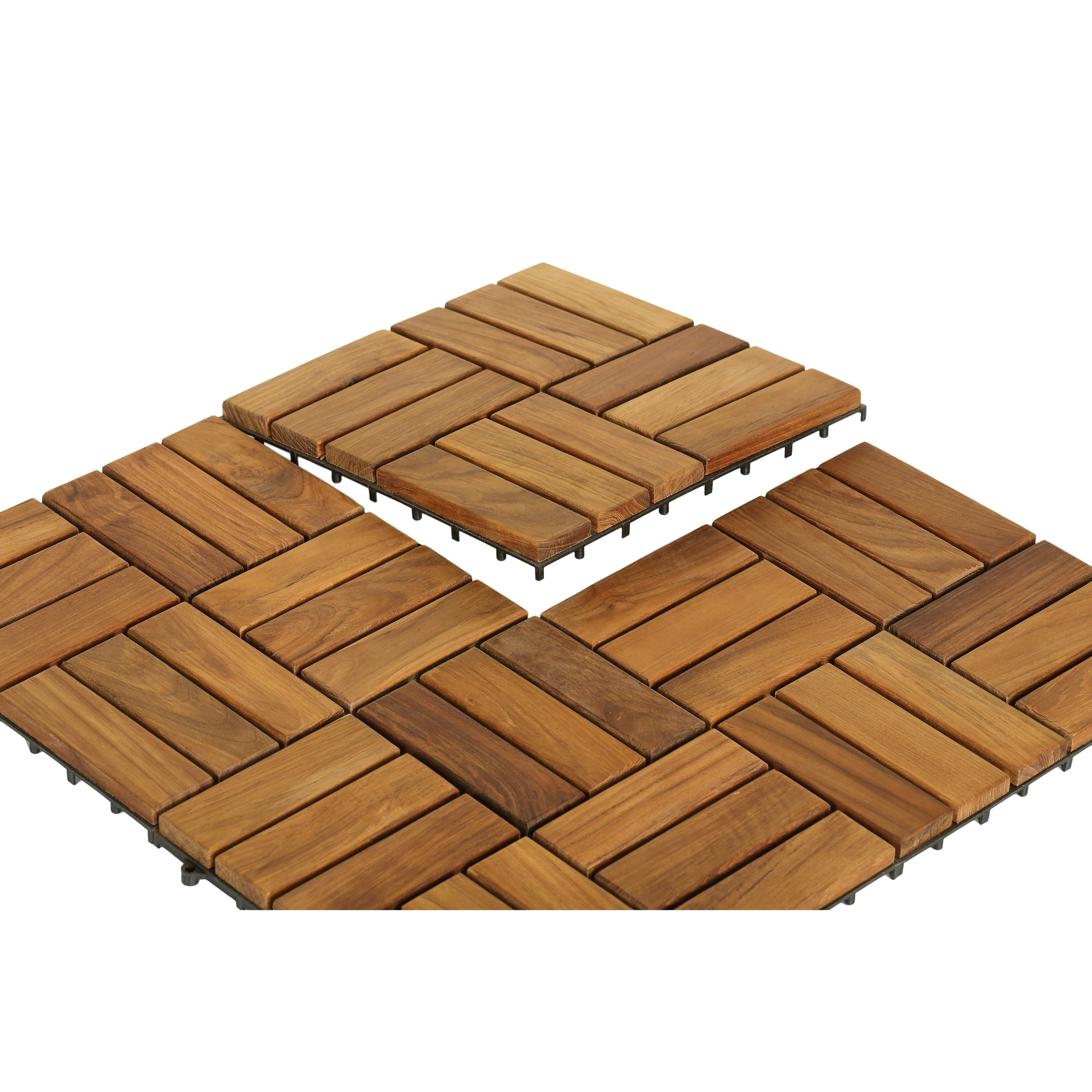 Bare Decor EZ Floor Interlocking Flooring Tiles in Solid Teak Wood