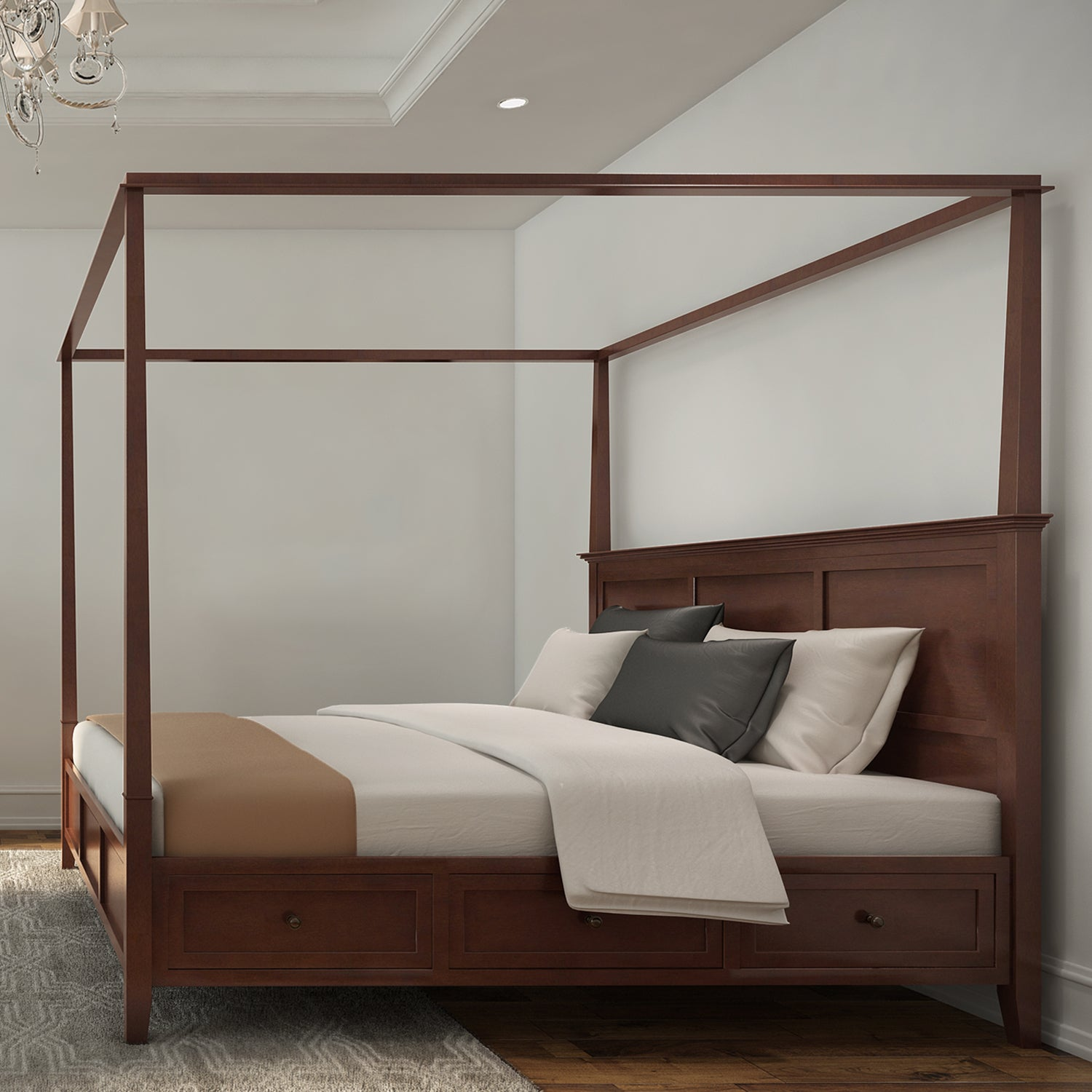 Simply Solid Araceli Solid Wood Canopy Storage Bed - Free Shipping Today - Overstock.com - 17331156 & Simply Solid Araceli Solid Wood Canopy Storage Bed - Free Shipping ...