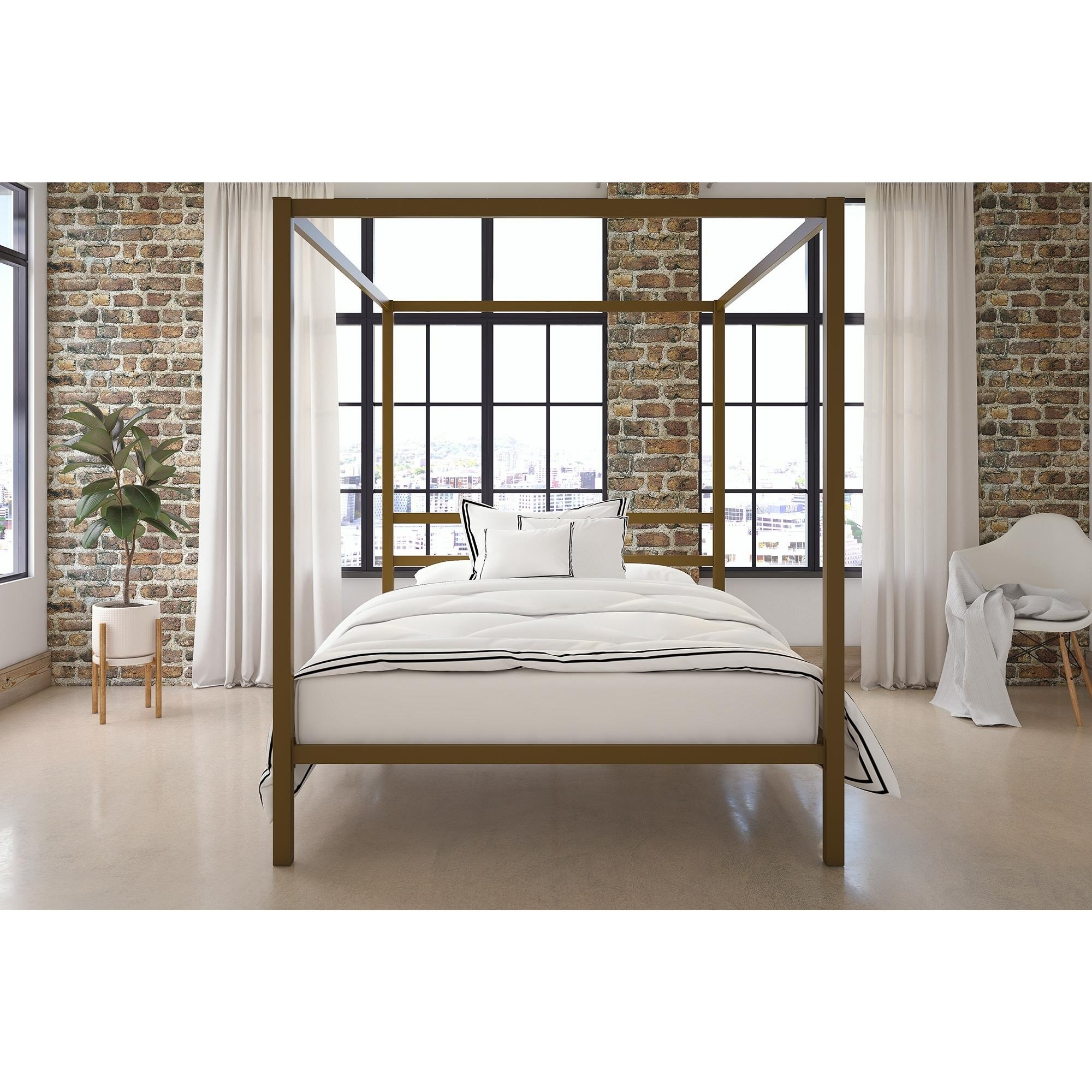 DHP Modern Grey Queen Canopy Bed t