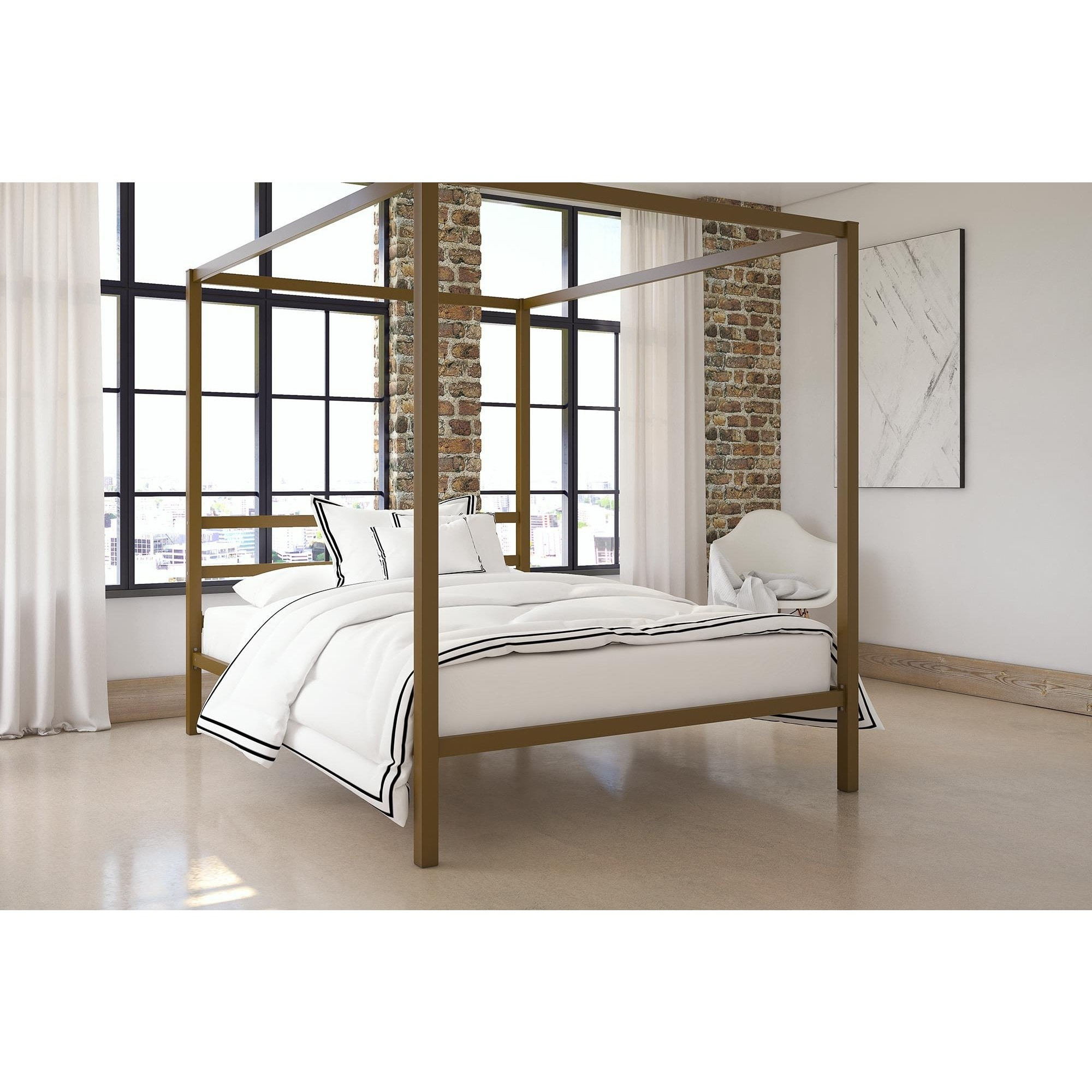 DHP Modern Canopy Queen Metal Bed Free Shipping Today Overstock