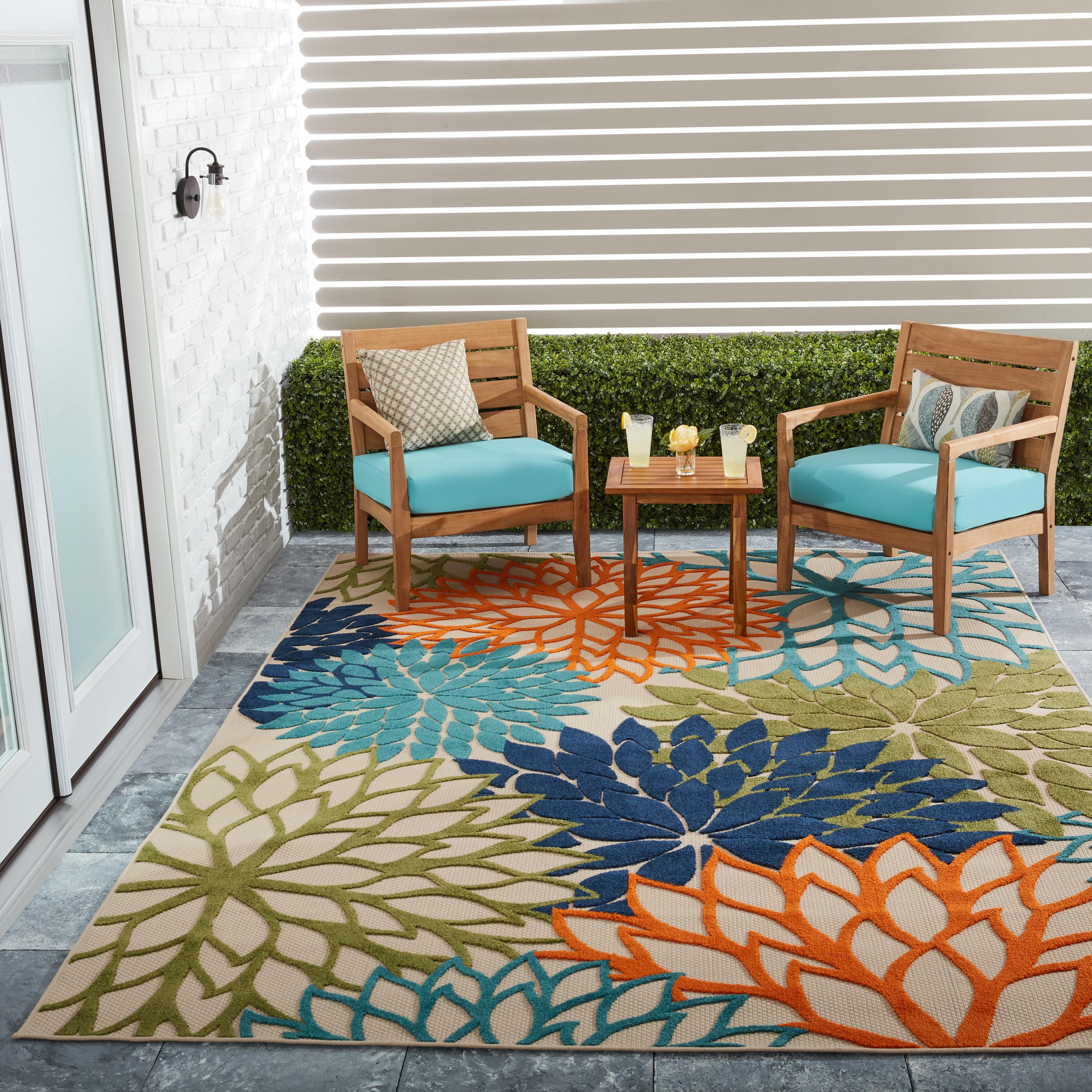 Nourison Aloha Floral Navy Green Indoor/Outdoor Rug - 5'3 x 7'5