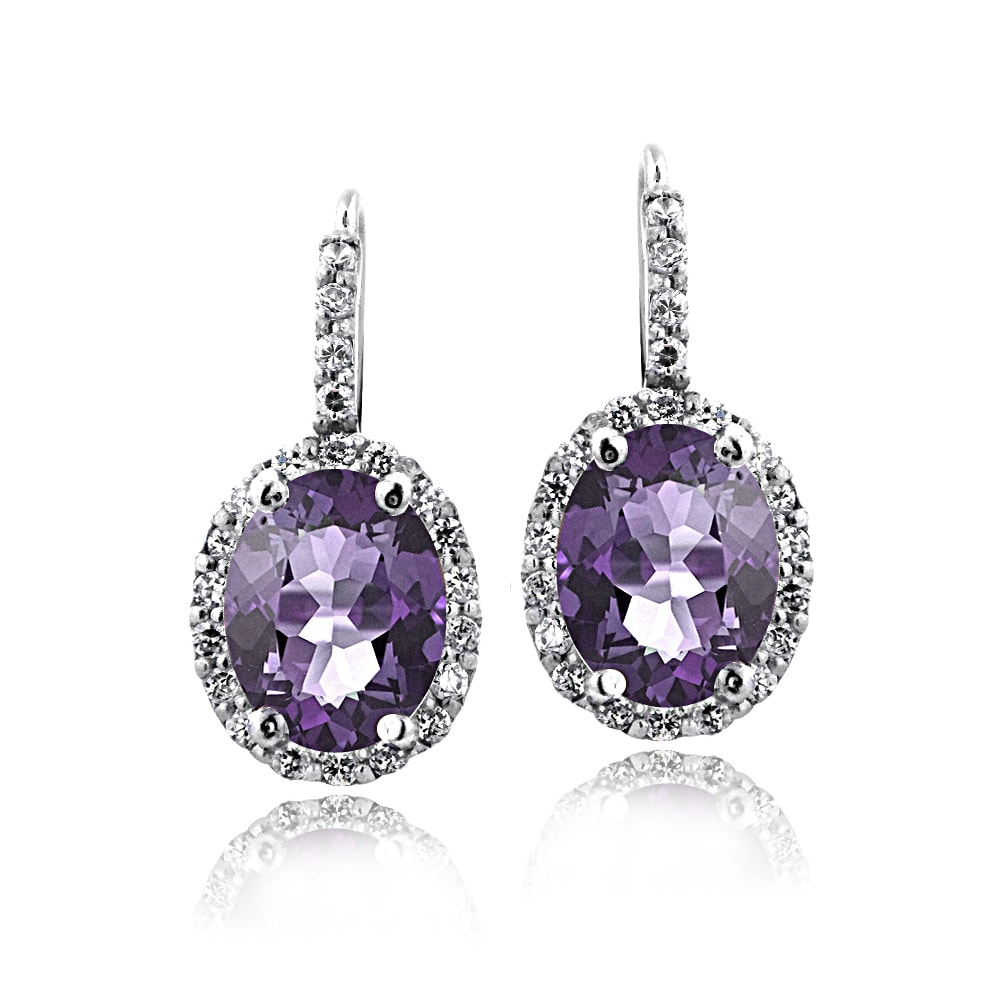 813db79c0 Shop Glitzy Rocks Sterling Silver Oval Halo Birthstone Leverback Earrings -  On Sale - Free Shipping On Orders Over $45 - Overstock - 10217295