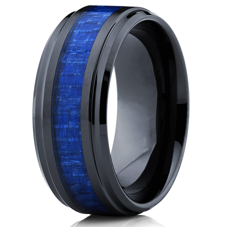 oliveti black ceramic ring wedding band with blue carbon fiber