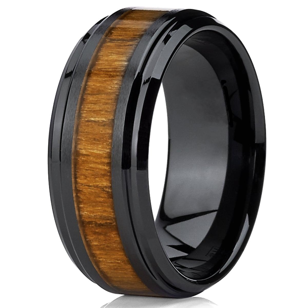 Oliveti Black Ceramic Ring Wedding Band With Real Koa Wood Inlay 9 Mm