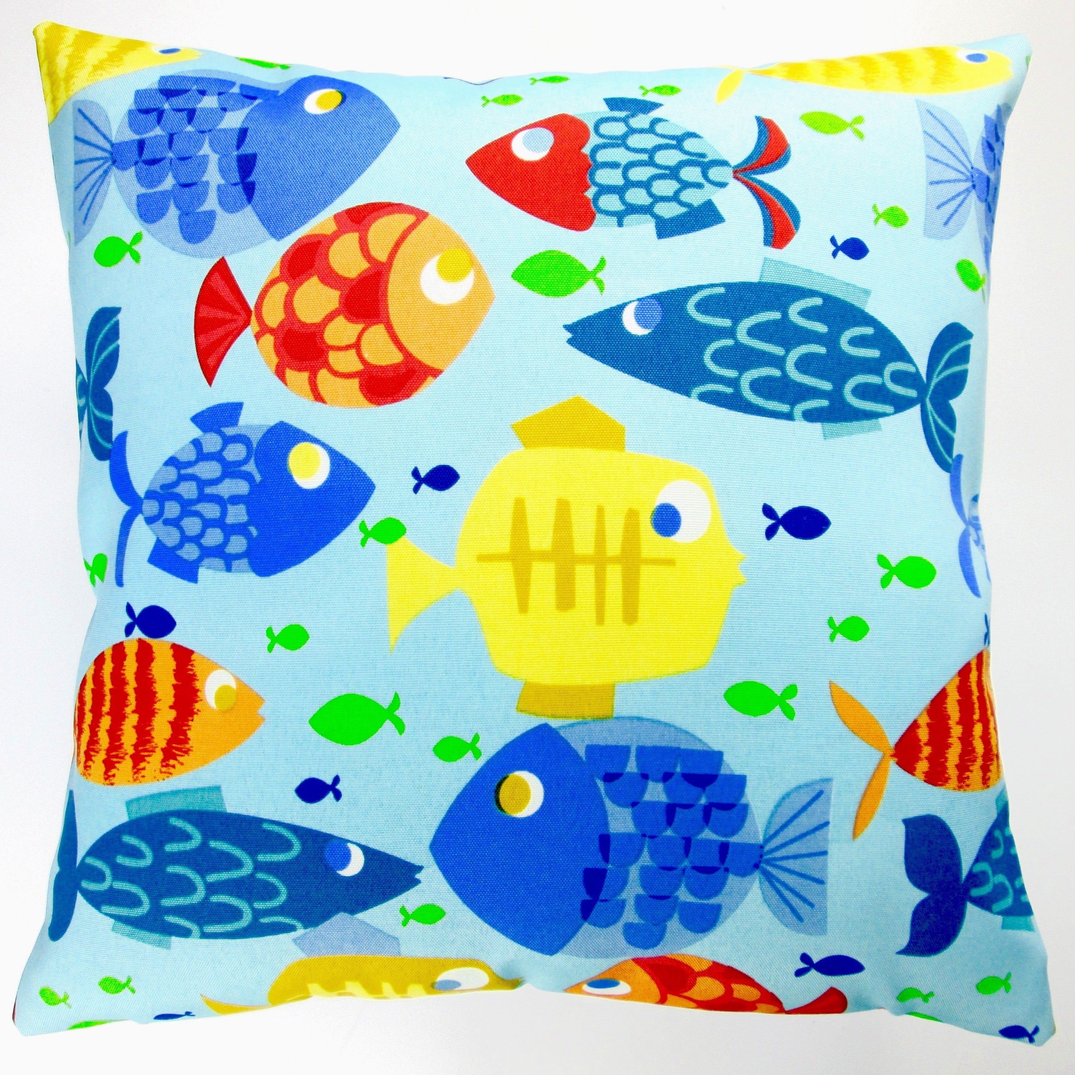 Artisan Pillows Indoor Outdoor 18 Inch Kid S Colorful Fish Blue