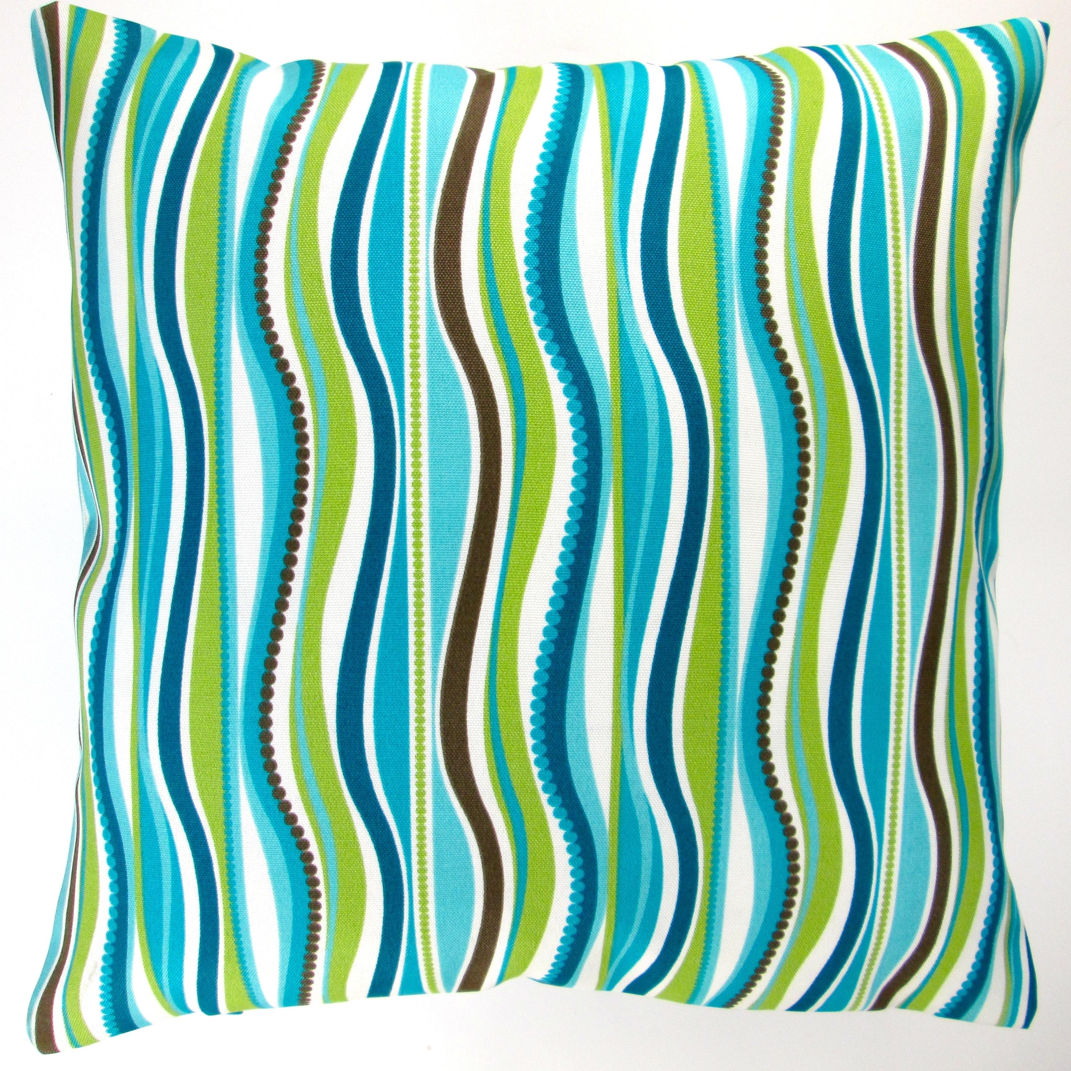 Shop Artisan Pillows Indoor  Outdoor 18-inch Blue Green Stripe Modern  Caribbean Coastal Beach House Throw Pillow Cover (Set of 2) - On Sale -  Free Shipping ... fd2f17e5af0a