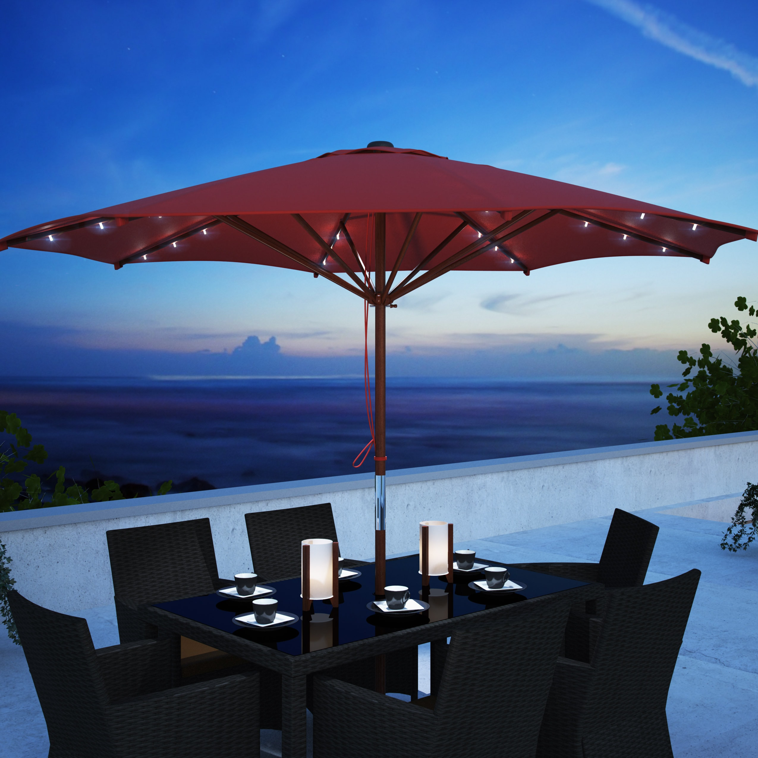 CorLiving Patio Umbrella with Solar Power LED Lights Free