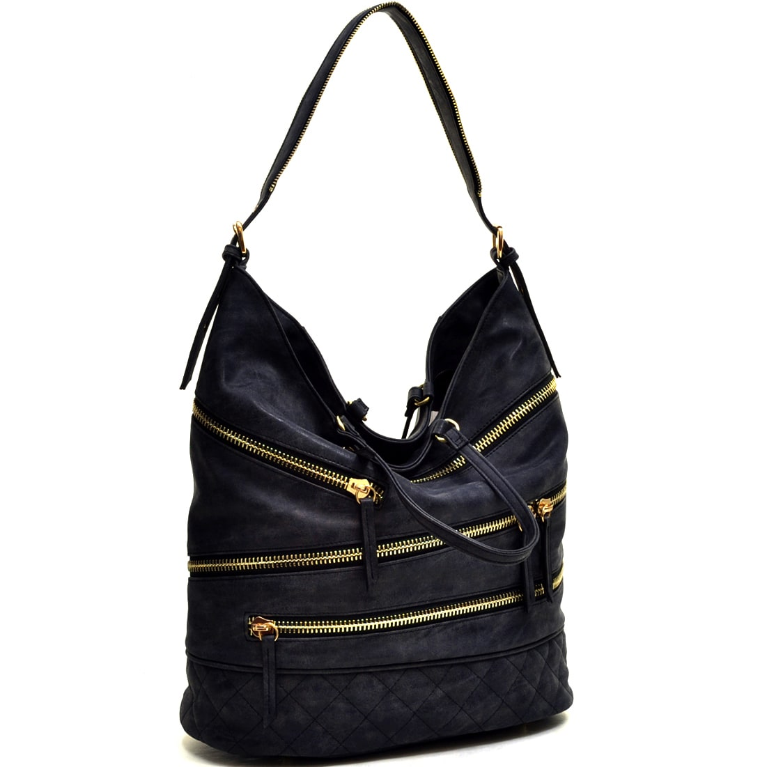 Shop Dasein Gold-Tone Quilted Hobo Bag with Front Zipper Deco - On Sale - Free  Shipping Today - Overstock.com - 10222568 2b3bae3352