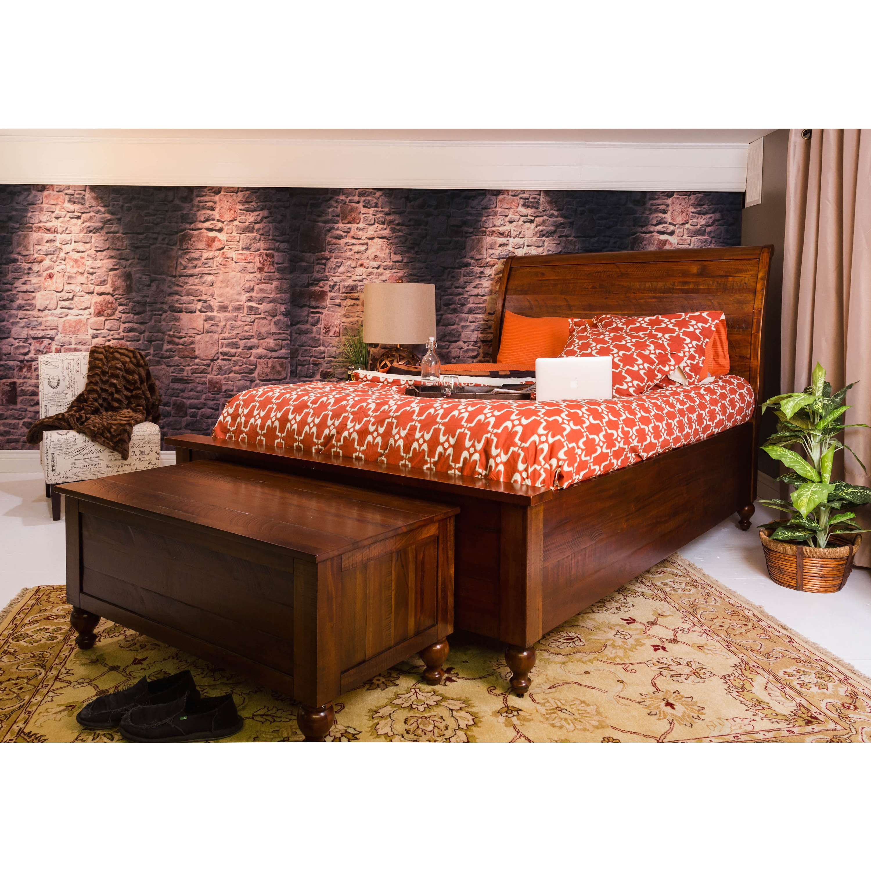 Shop Somette Glendive Collection Light Brown Mahogany Queen Size Panel Bed