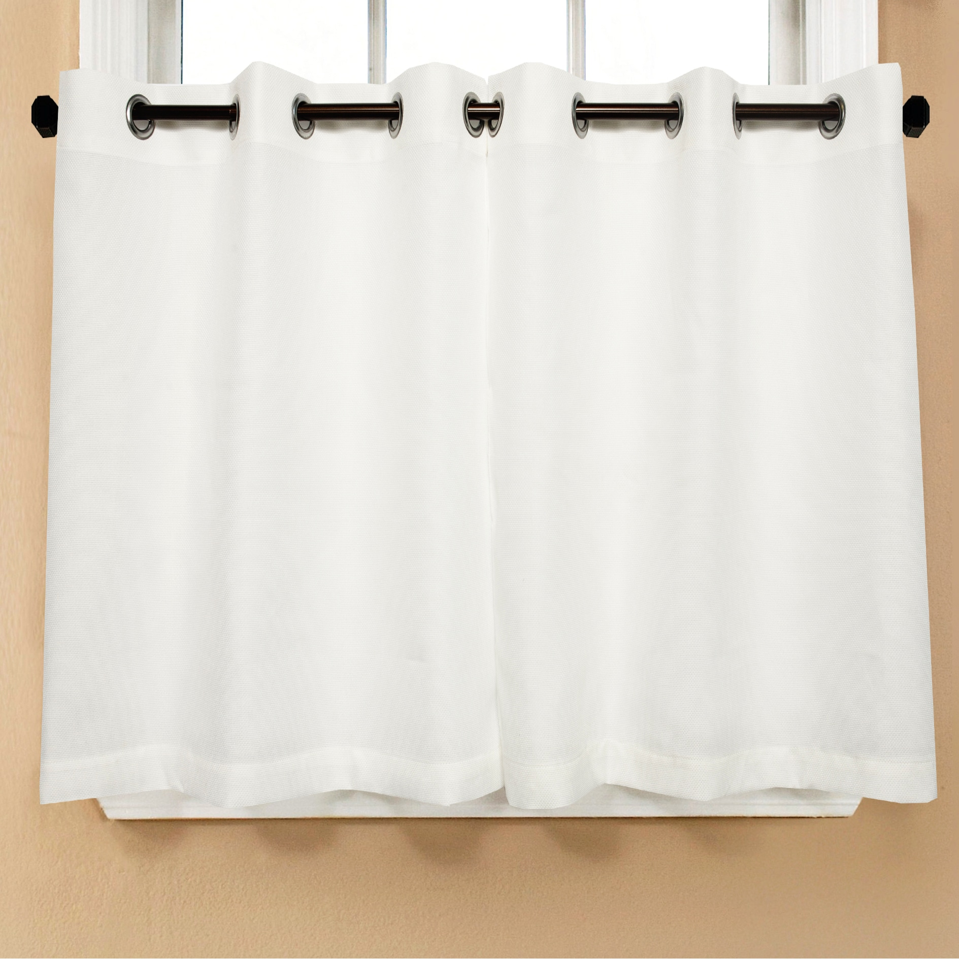 Modern Subtle Texture Solid White Kitchen Curtain Parts With ...