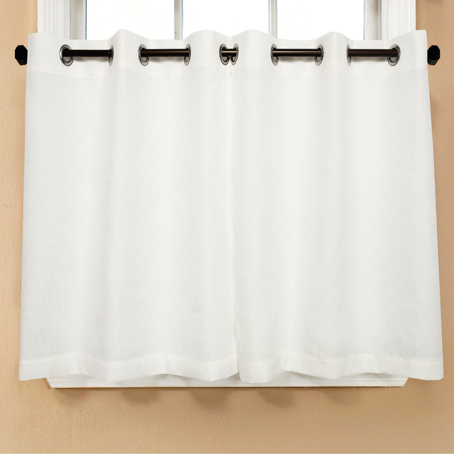 Shop Modern Subtle Texture Solid White Kitchen Curtain Parts With Grommets Tier And Valance Options