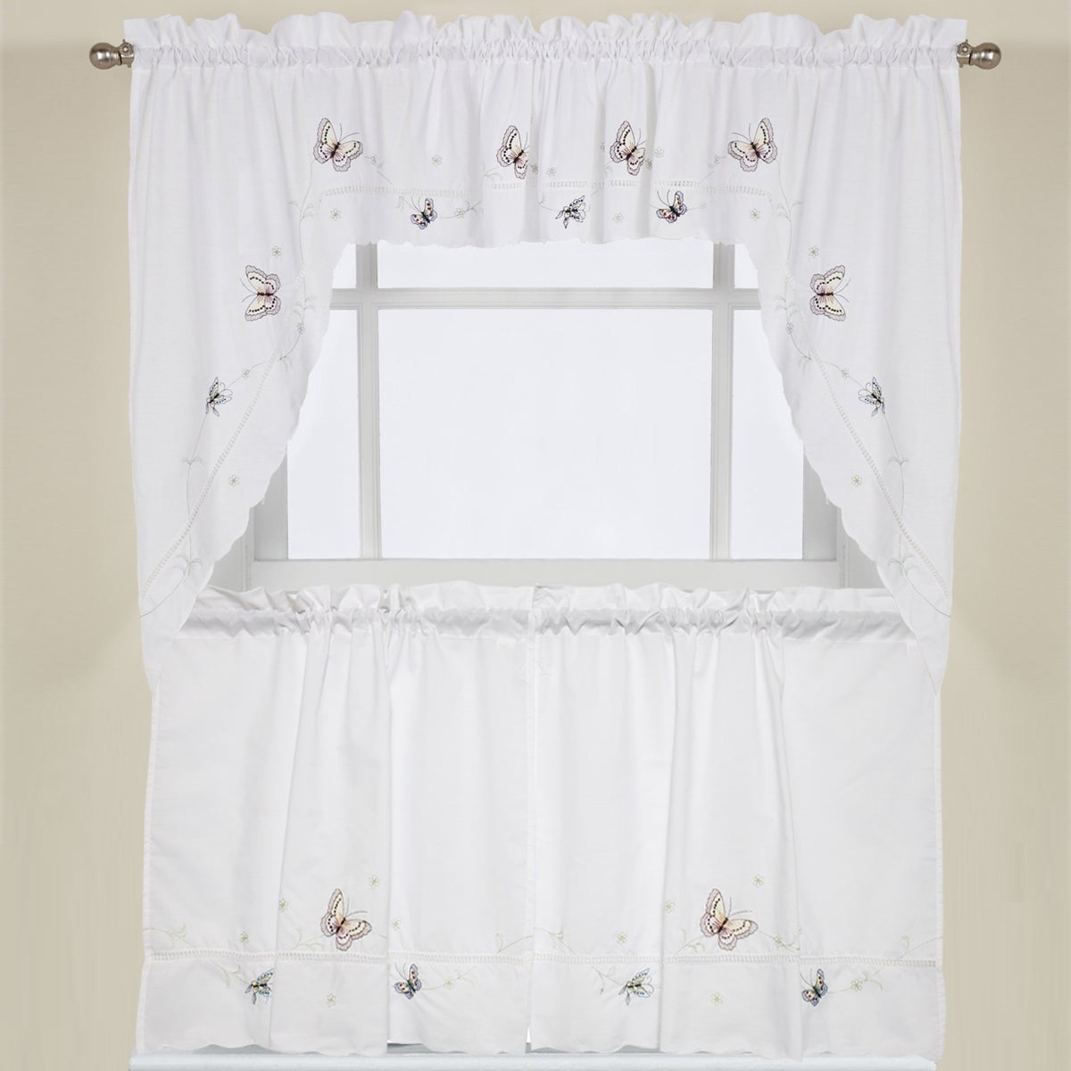 Shop Fluttering Butterfly White Embroidered Tier, Swag, Or Valance Kitchen  Curtains   On Sale   Free Shipping On Orders Over $45   Overstock.com    10225808