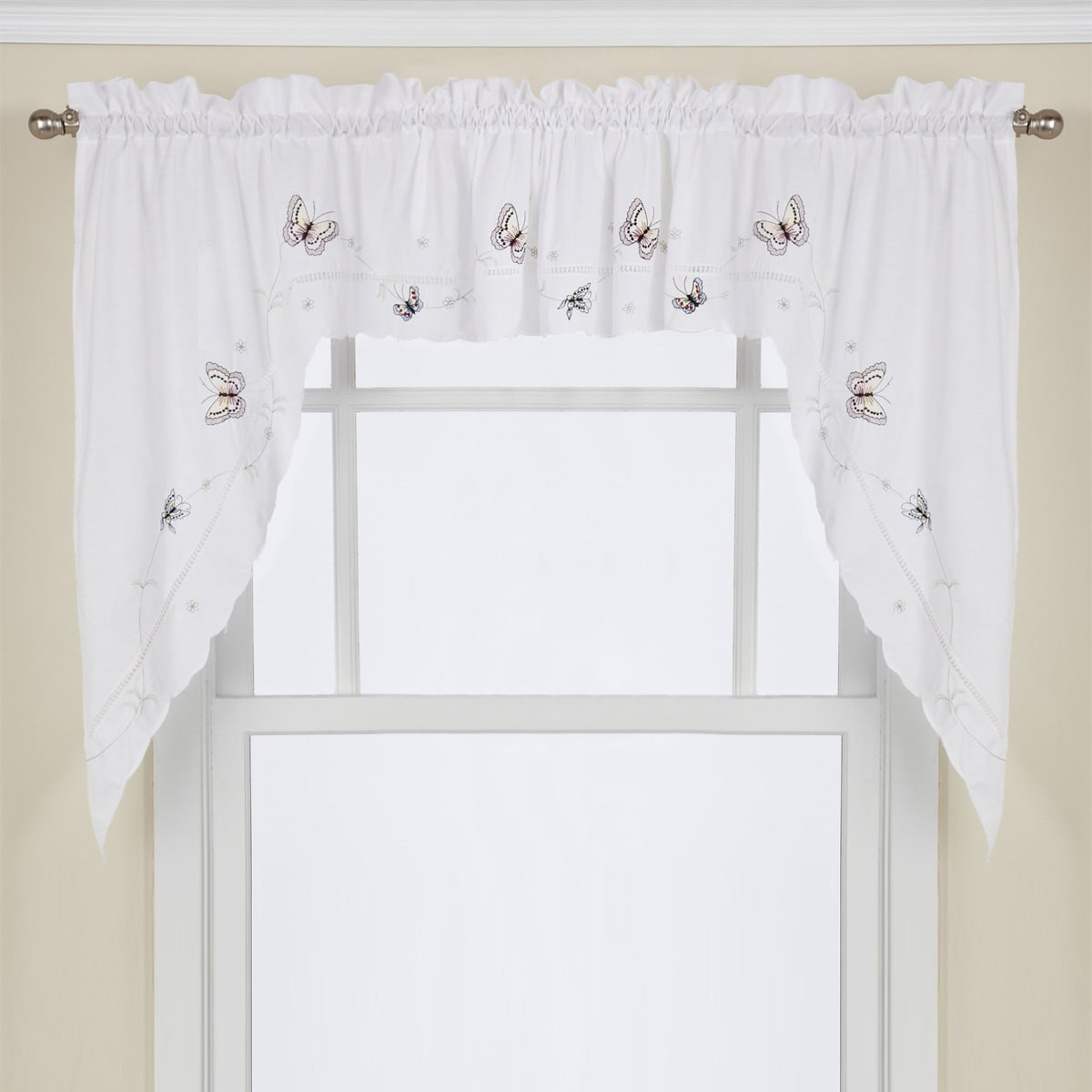 Shop Fluttering Butterfly White Embroidered Tier Swag Or Valance
