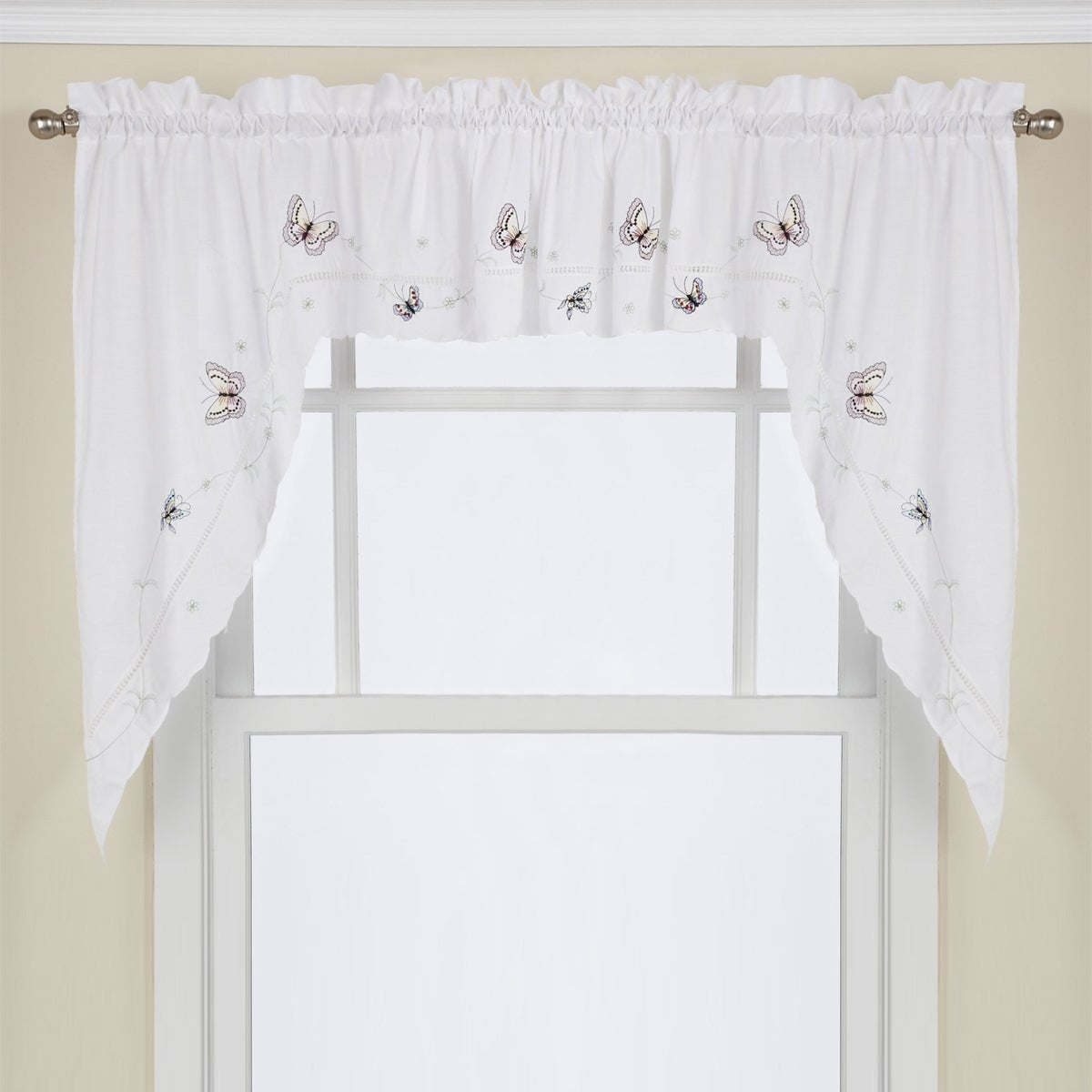 Embroidered Fluttering Butterfly Kitchen Curtains Tiers Swag