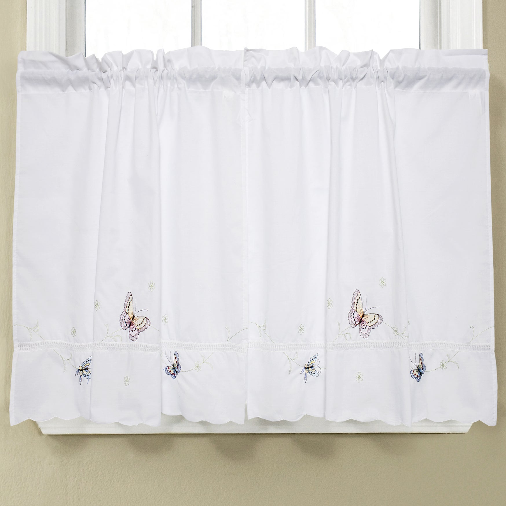 Fluttering Butterfly White Embroidered Tier, Swag, or Valance ...