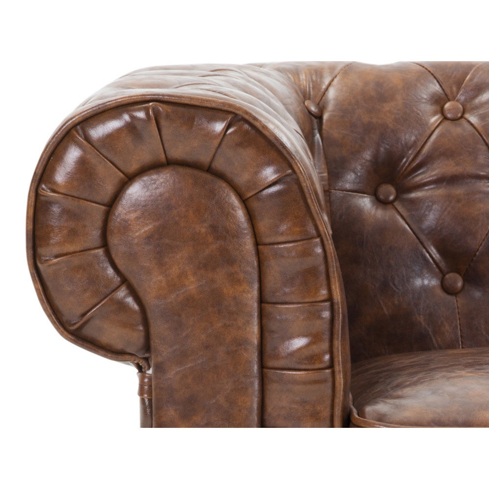Vintage Quilted Leather Sofa   Avignon By Velago   Free Shipping Today    Overstock.com   17348369