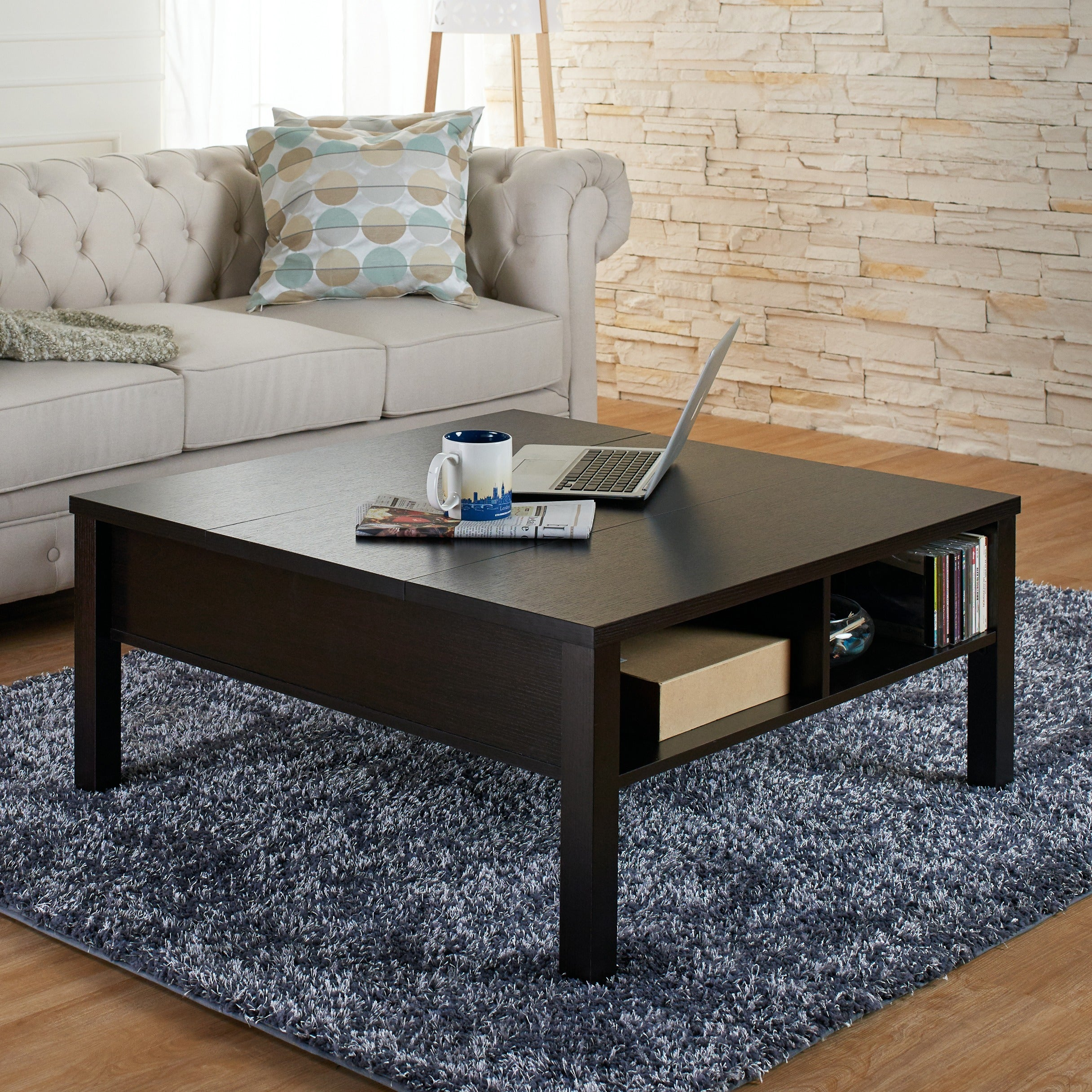 Furniture of America Lettani Cappuccino Slide out Coffee Table