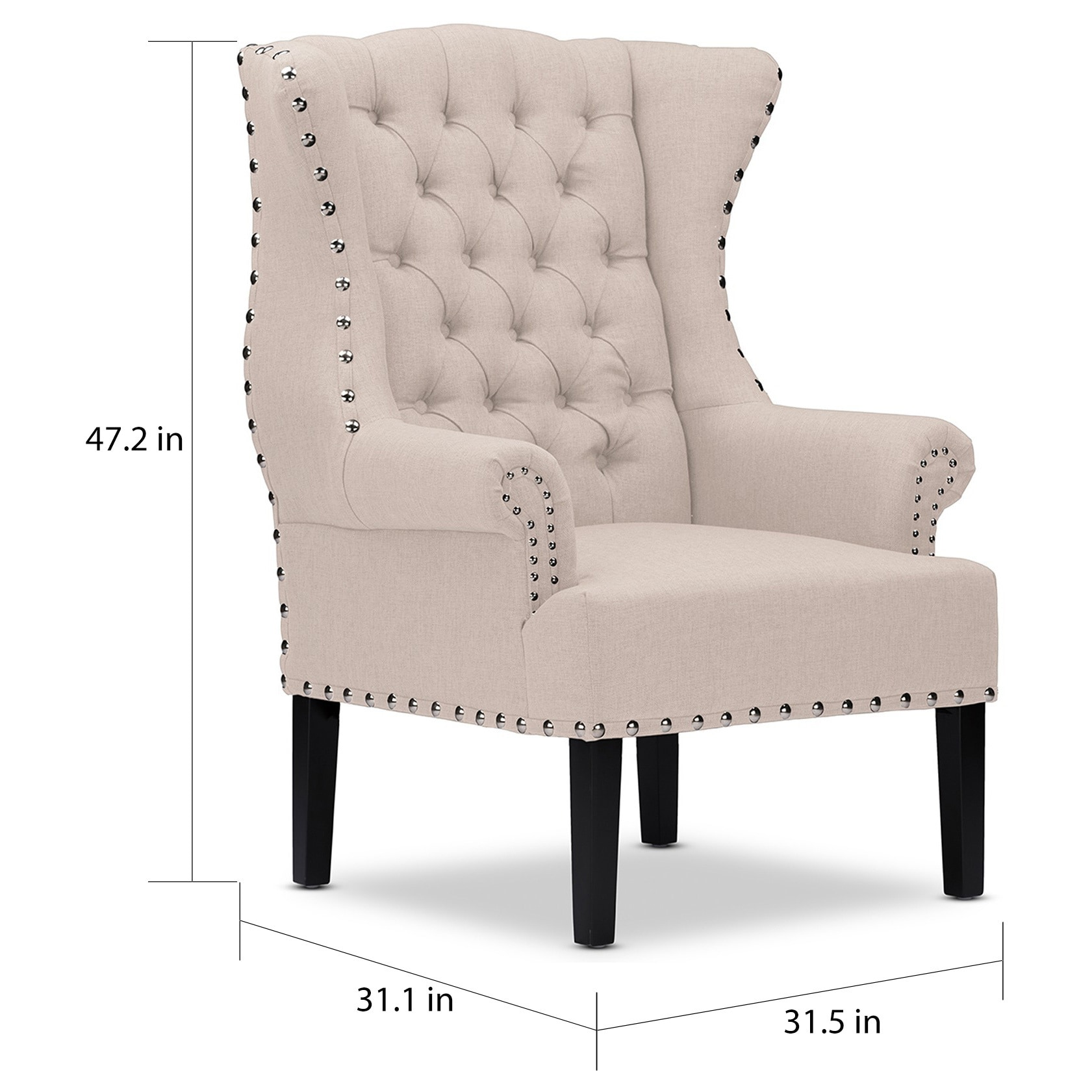 burlap furniture. Baxton Studio Patterson Wingback Beige Linen And Burlap Nailhead Tufted Accent Chair - Free Shipping Today Overstock 17348880 Furniture H
