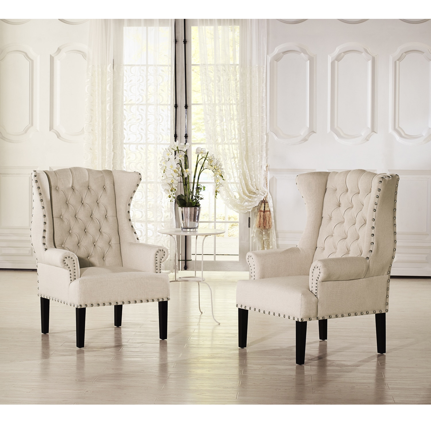 Shop Baxton Studio Patterson Wingback Beige Linen And Burlap ...