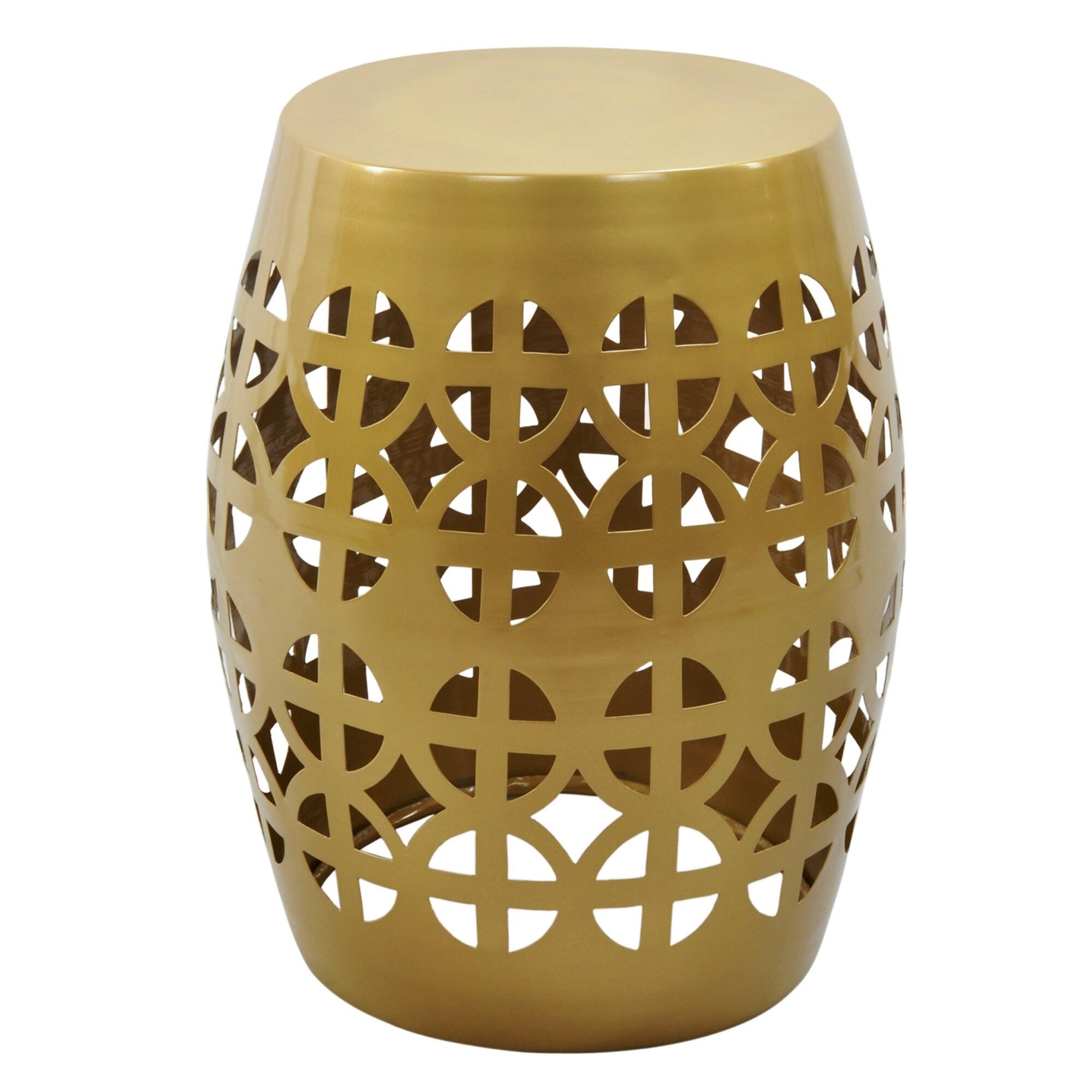 Shop Artisan Gold Garden Stool/ Side Table - Free Shipping Today ...