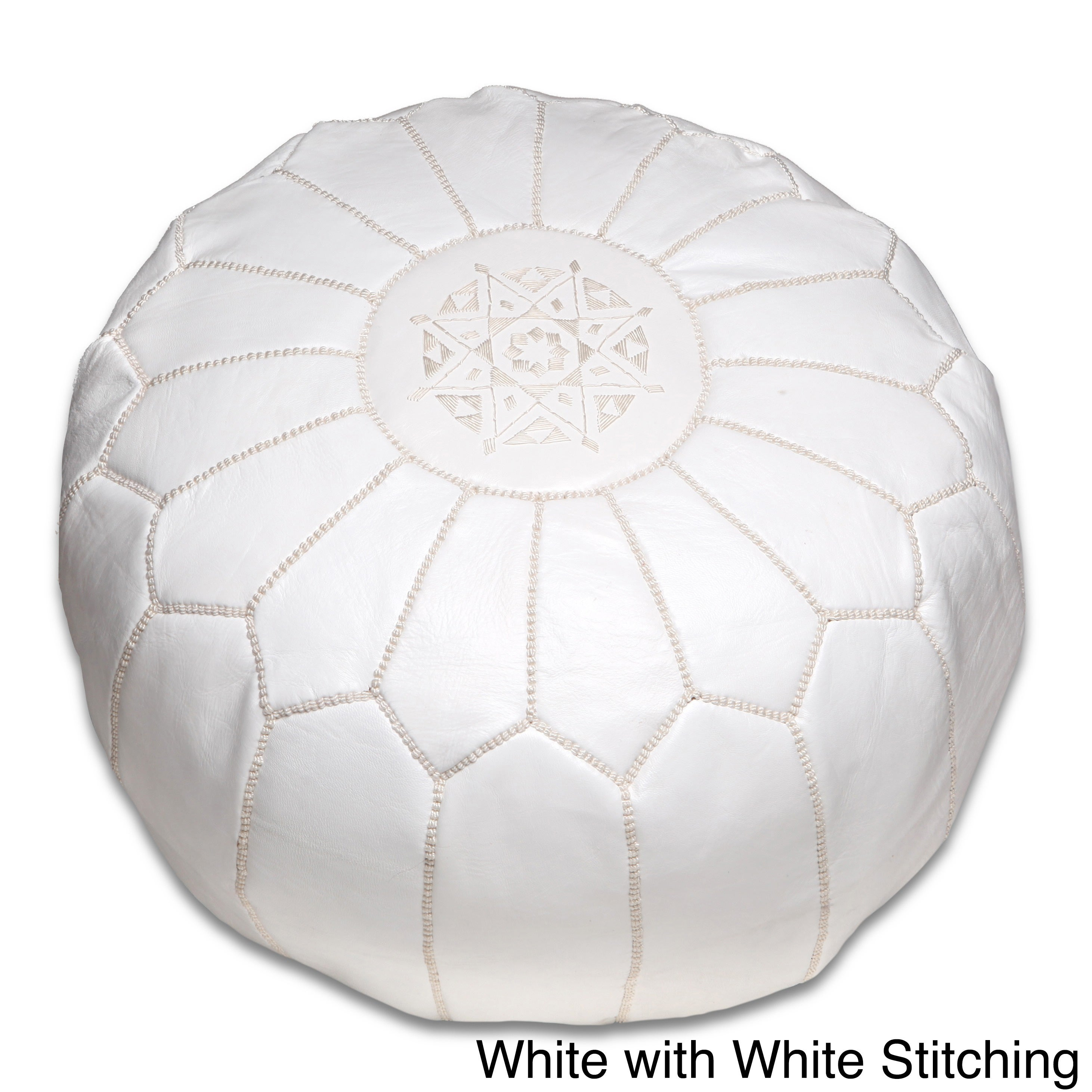 Moroccan Luxury White Handmade Leather Pouf With Grey Stitching Home & Garden