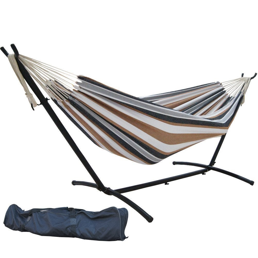 prime garden 9 foot double hammock with space saving steel hammock stand   free shipping today   overstock     17355779 prime garden 9 foot double hammock with space saving steel hammock      rh   overstock