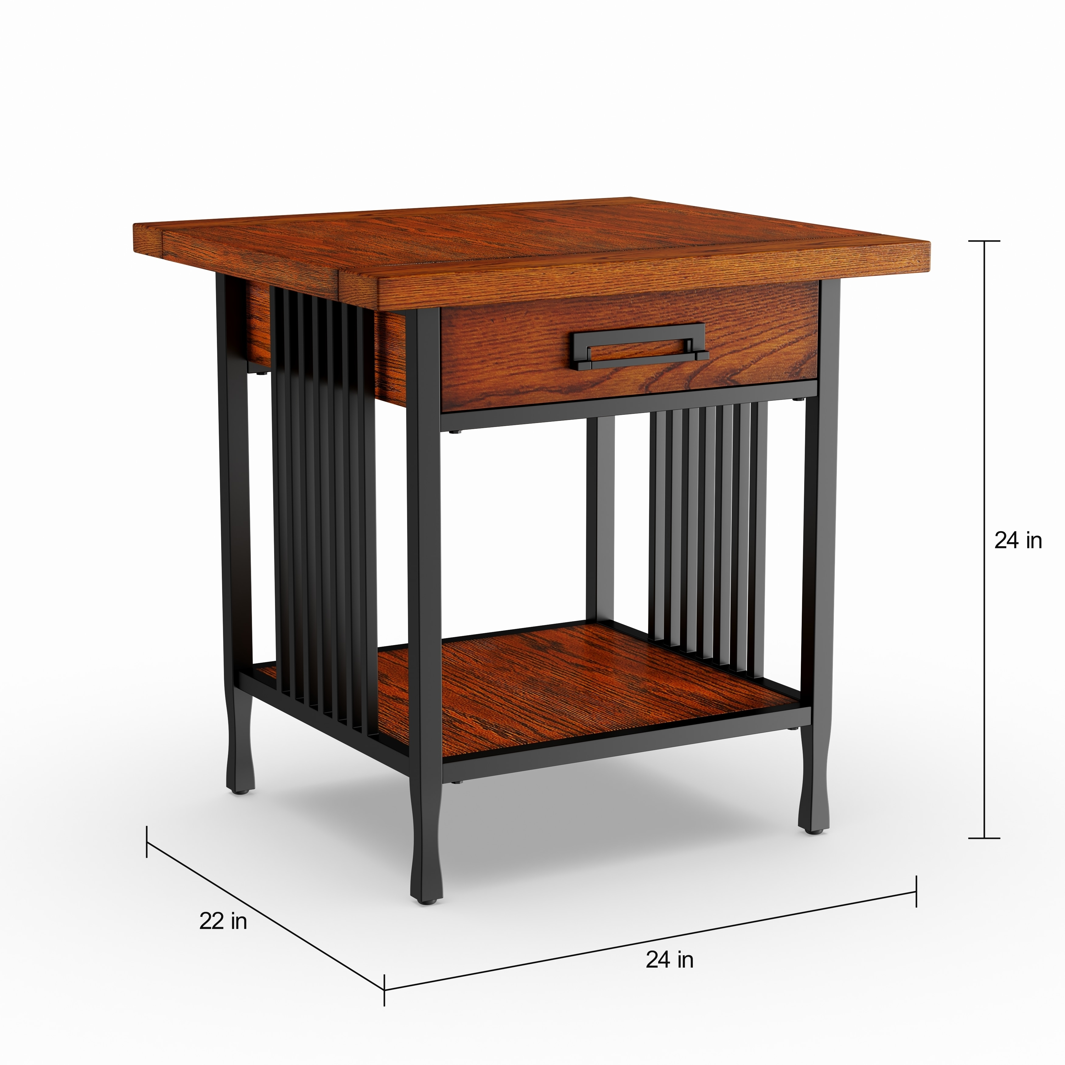 Carbon Loft Peter Matte Black Slatted Metal Oak End Table With Drawer Free Shipping Today 10235811