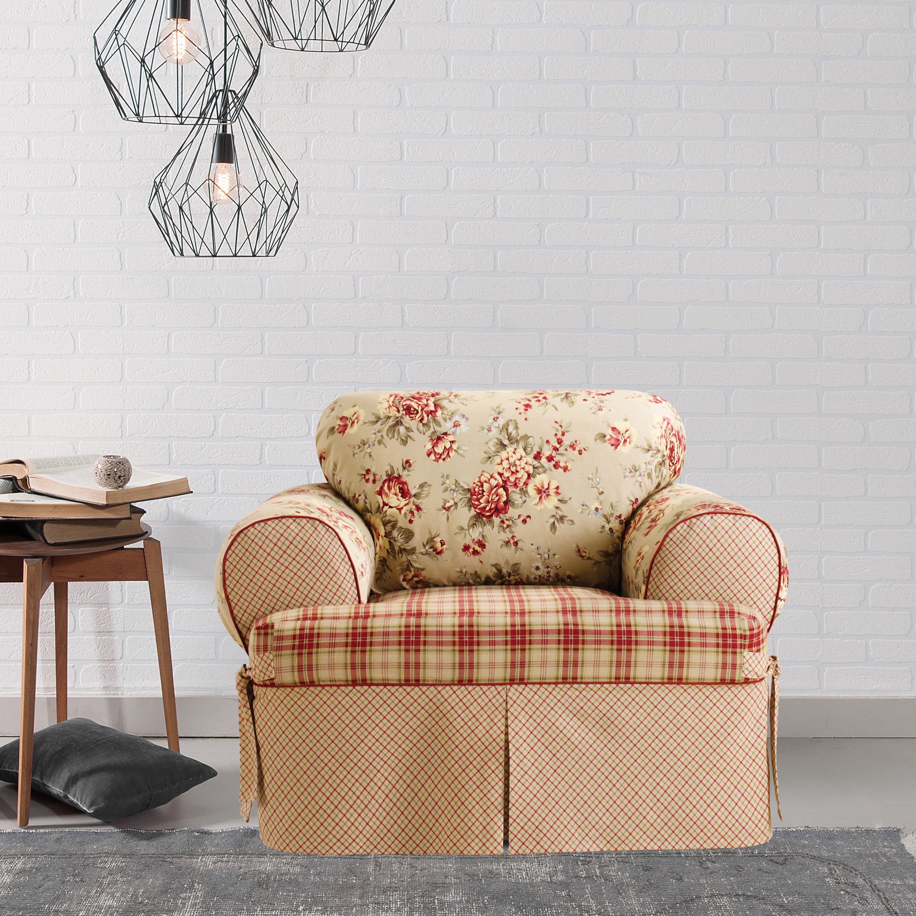 Shop sure fit lexington one piece t cushion chair slipcover free shipping today overstock com 10237478