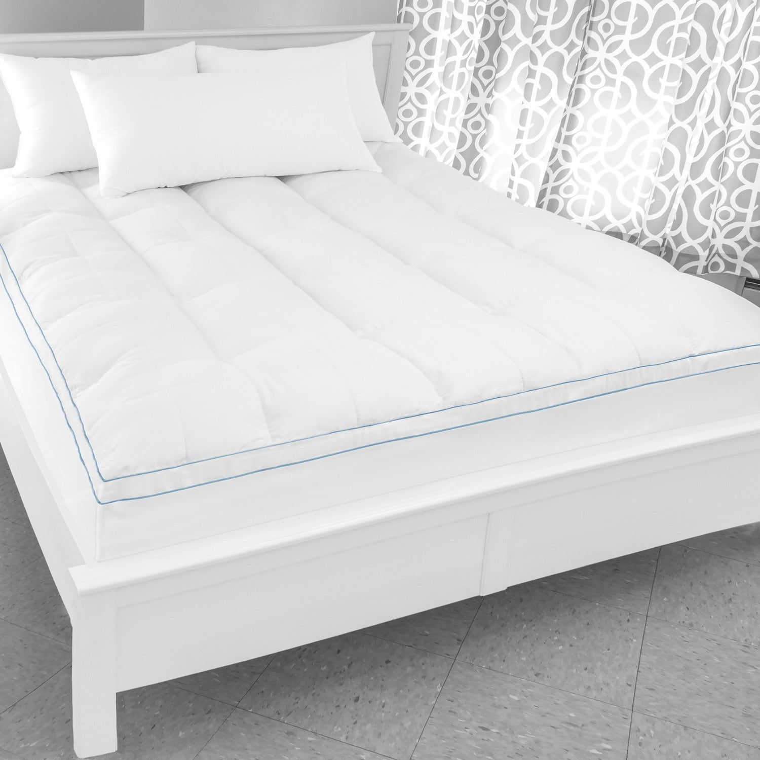 Topmatras Swiss Sense.Shop Swisslux Supreme Memory Foam And Fiber Bed Topper With Skirt