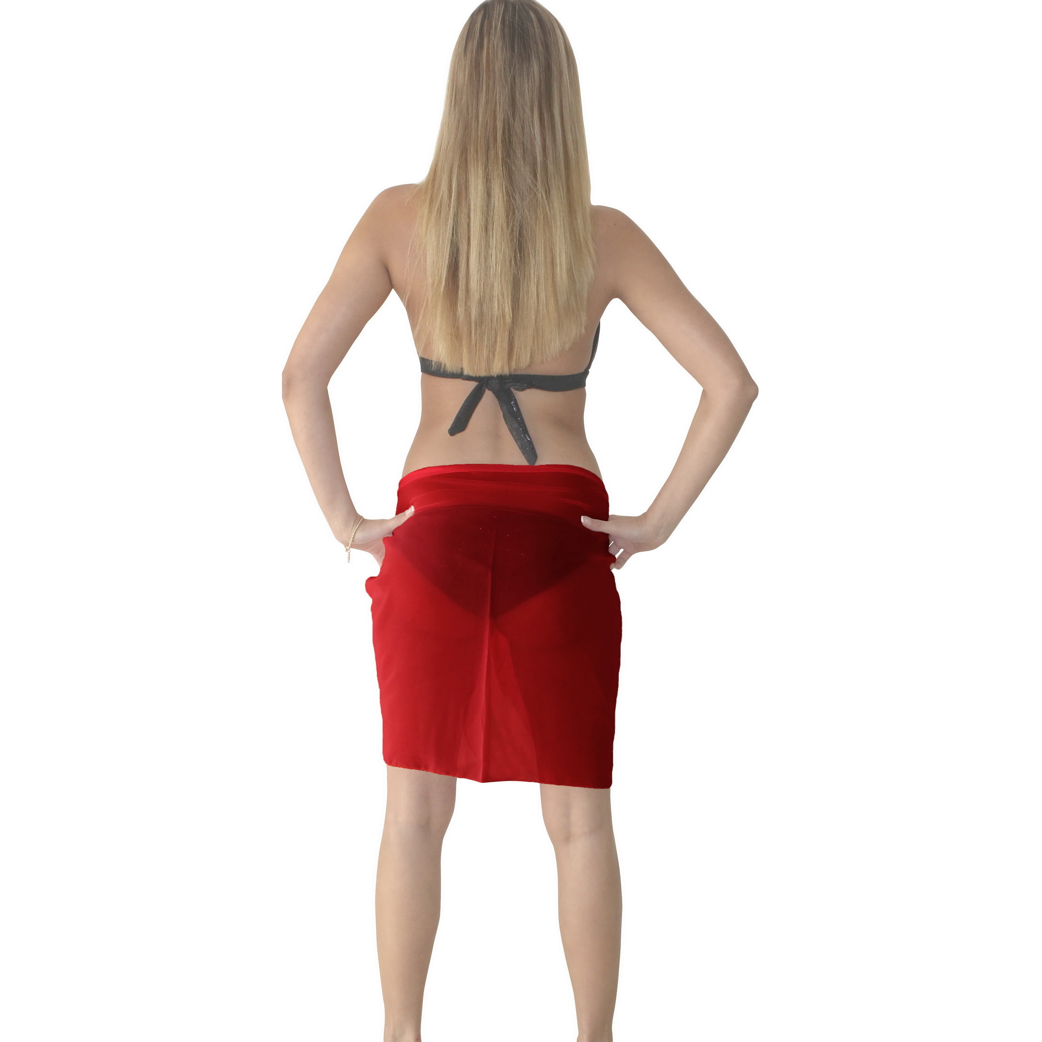 ff954daaf1f4e Shop La Leela Sheer Chiffon Solid Color Pareo Beach Swim Short Sarong Wrap  Red - Free Shipping On Orders Over $45 - Overstock - 10240673