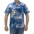 La Leela Men's Cotton Multi Design Print Blue Hawaiian Camp Shirt