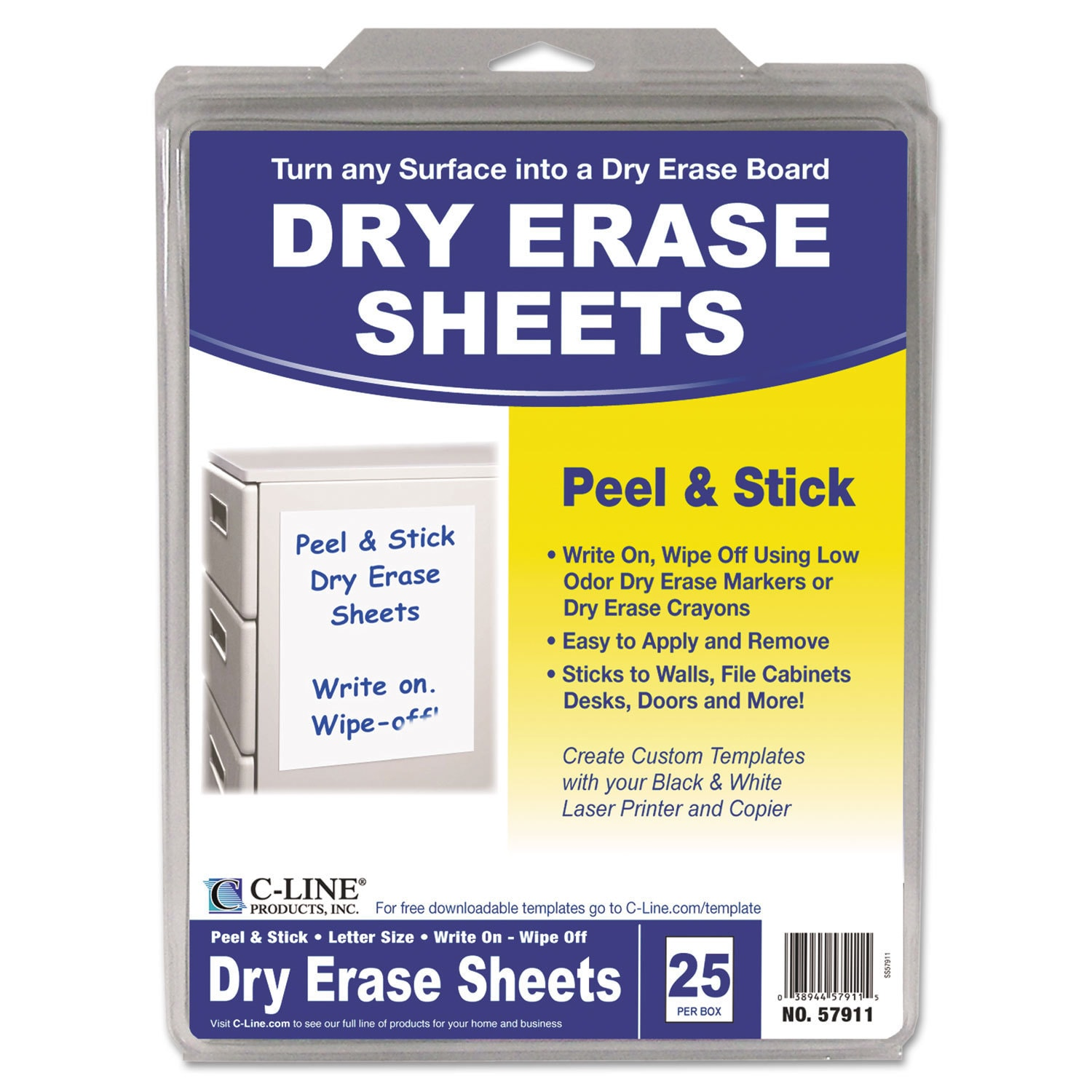 Shop C Line Peel And Stick White Dry Erase Sheets Box Of 25