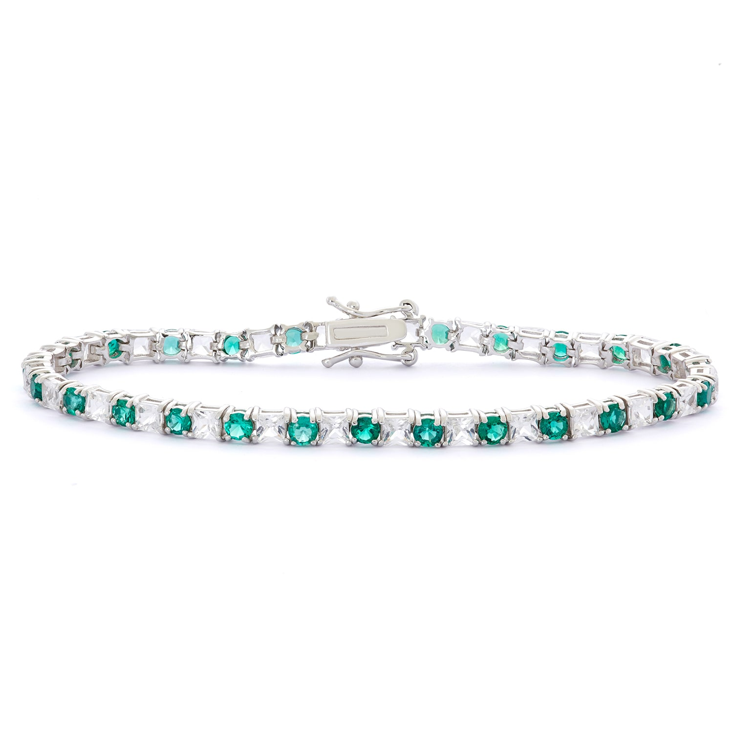 Gioelli Sterling Silver Round Created White Shire And Emerald Bracelet On Free Shipping Today 10246898