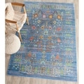 Safavieh Valencia Blue/ Multi Distressed Silky Polyester Rug (9' x 12')