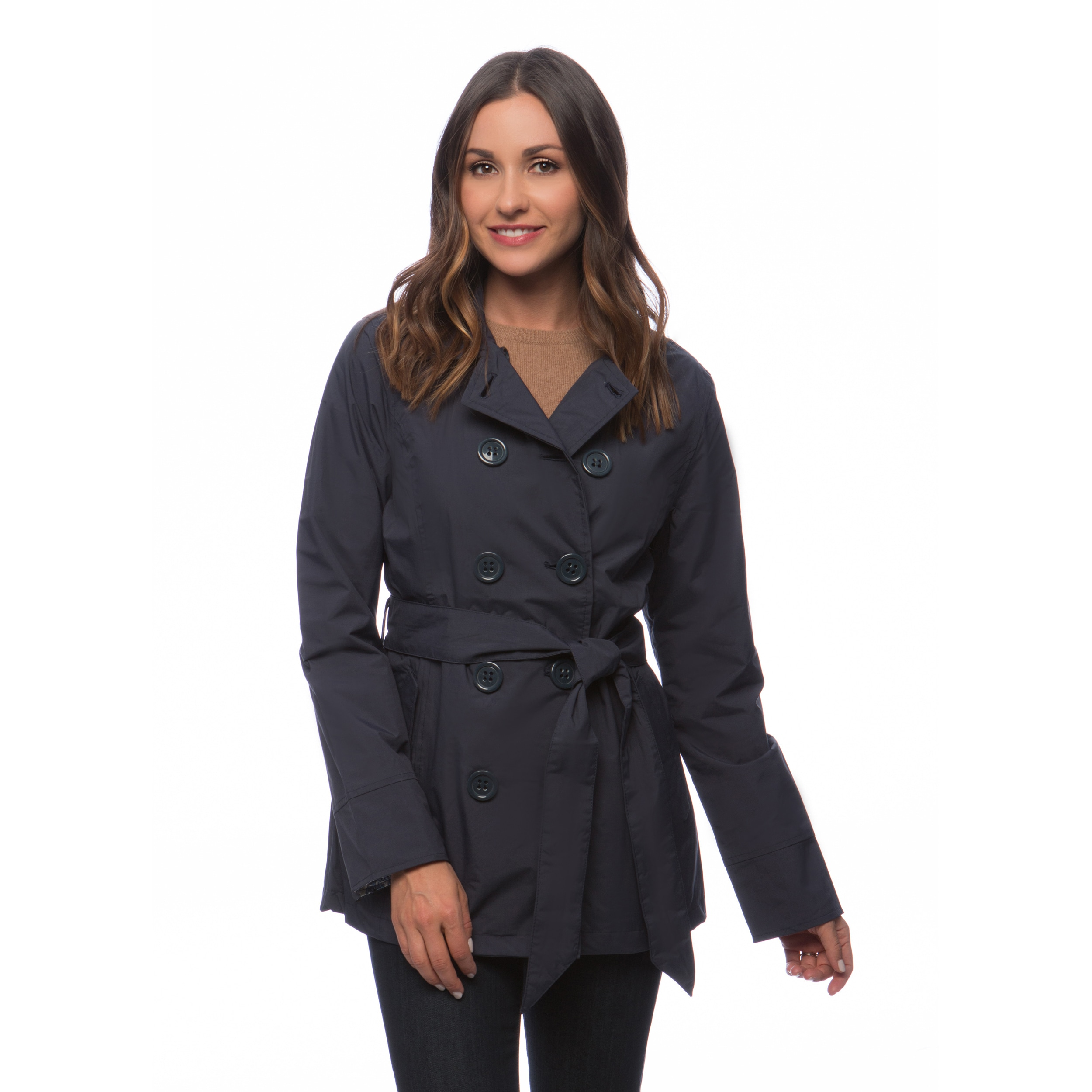 057f239f5781 Shop Happy Rainy Days Women's Double-breasted Notched Lapel Short Trench  Coat - Free Shipping On Orders Over $45 - Overstock - 10261870
