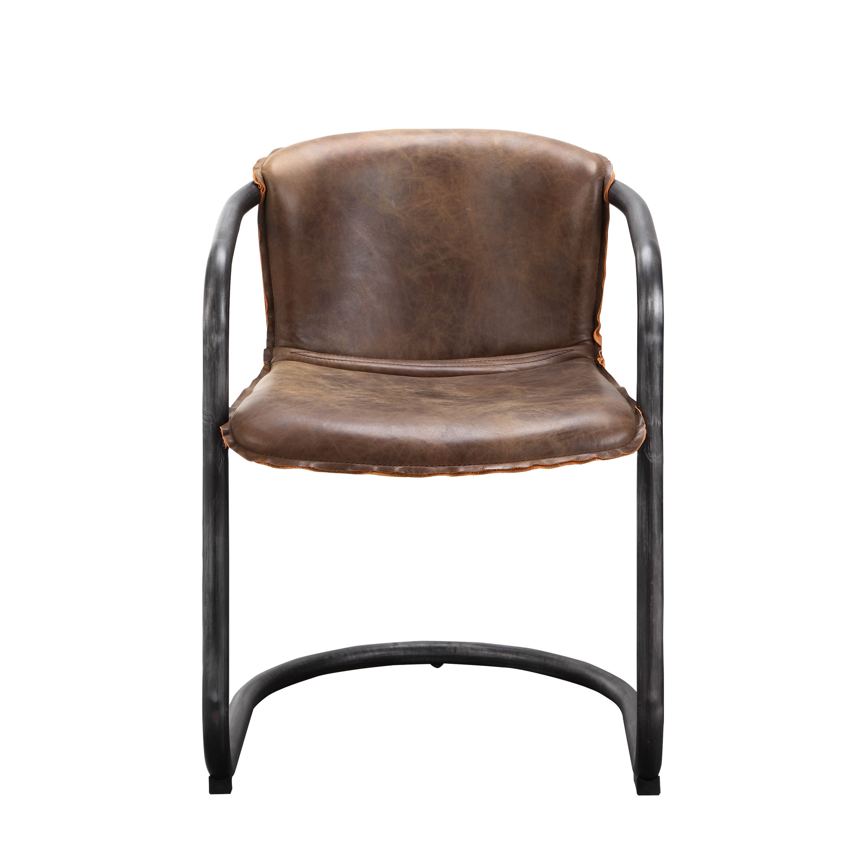 Shop Aurelle Home Distressed Rustic Leather Accent Chair (Set of 2 ...